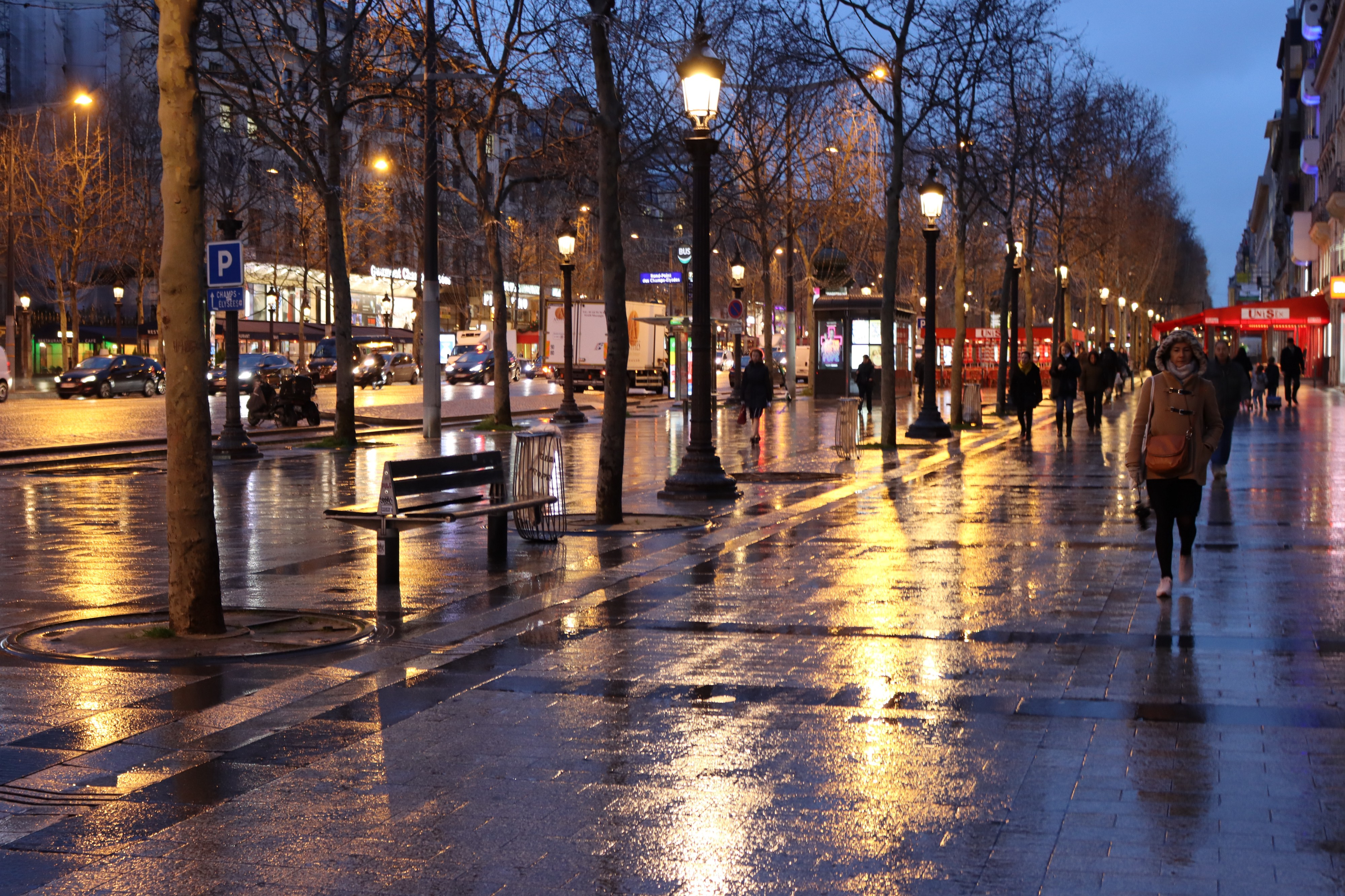 Early morning lamplight on the Champs Elysee