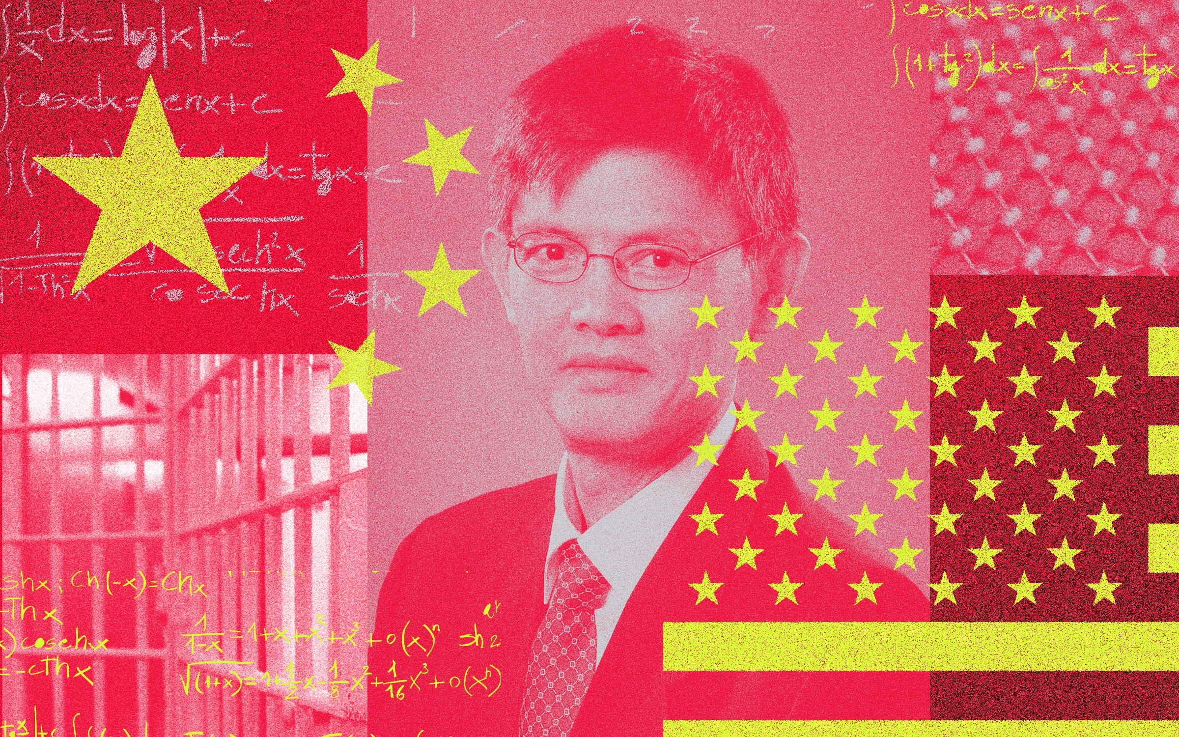 Chinese American physicist Xiaoxing Xi with symbols of the U.S. and Chinese flags, formulas, and prison bars over his photo.