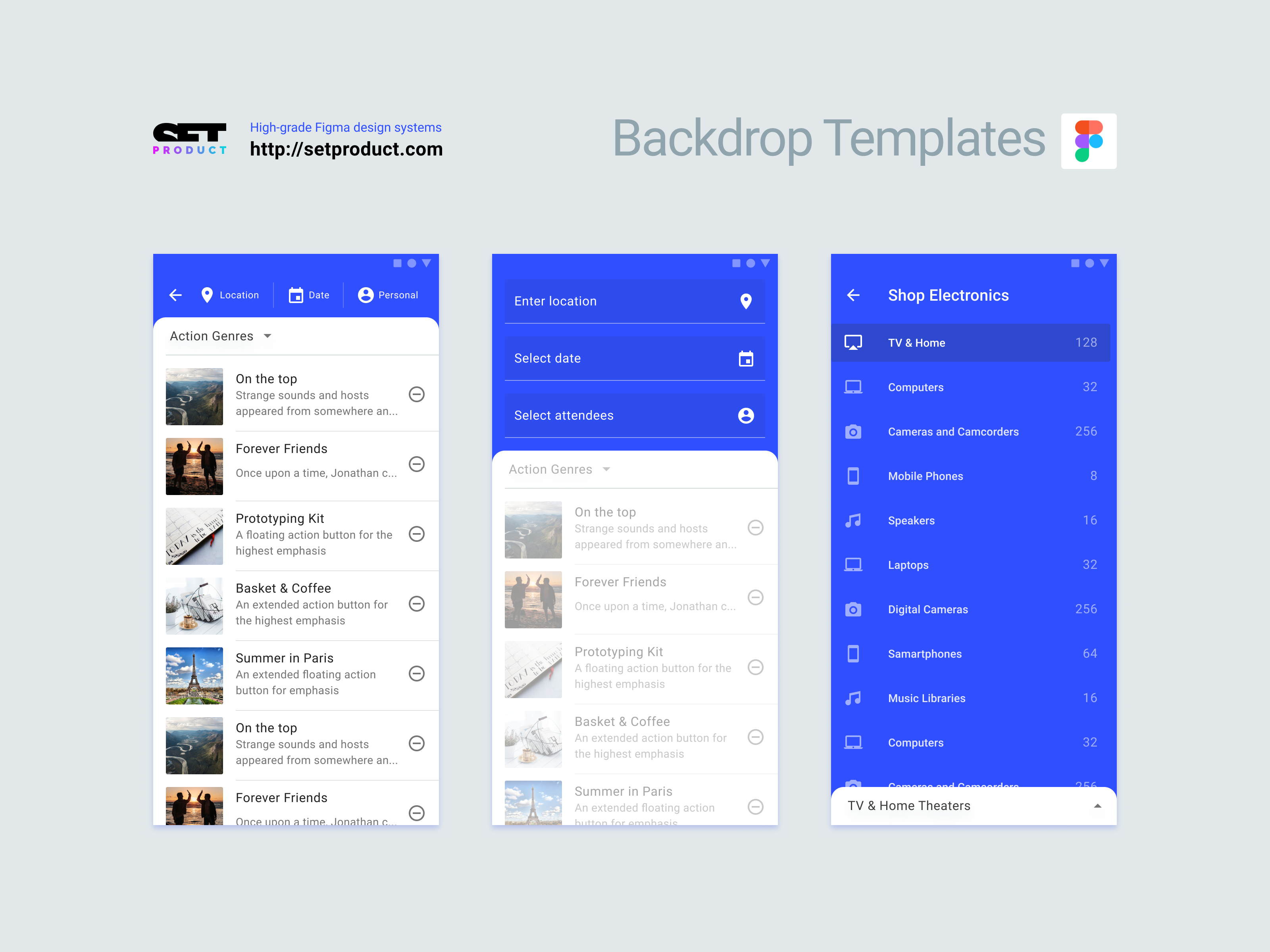 Figma design template  Material 2 Backdrop pattern & Free app layouts