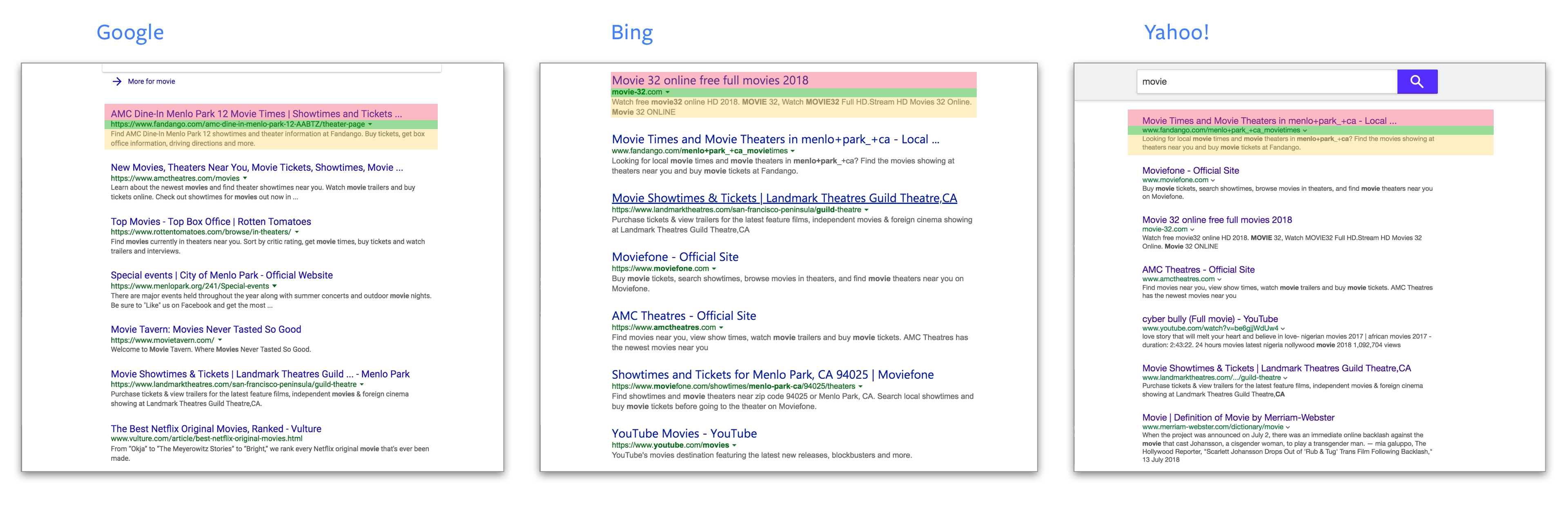 Design scannable and effective search results UI on Web
