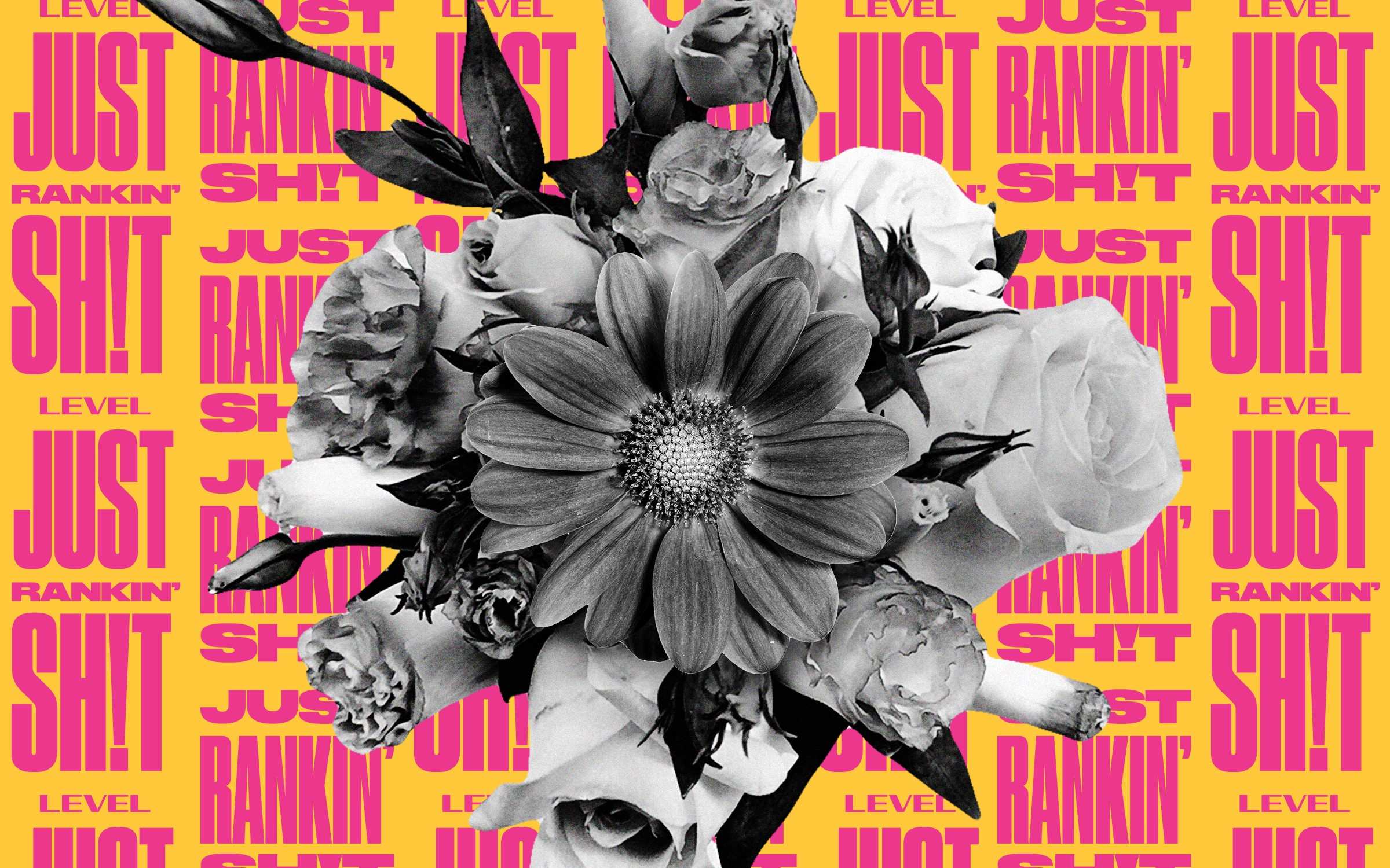 "A bouquet of flowers photoshopped against a background of text. The text says ""Just Rankin' Shit"" in a repeated pattern."