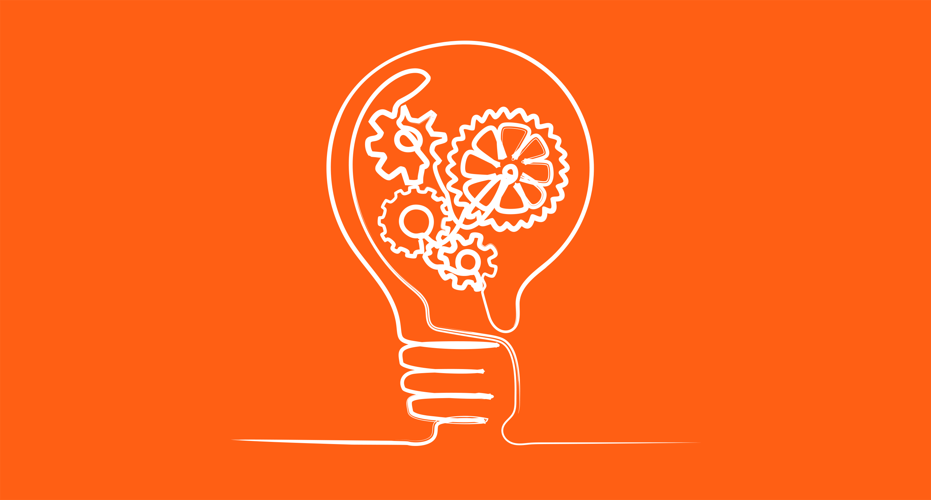 Orange background, single line drawing in white of lightbulb filled with gears