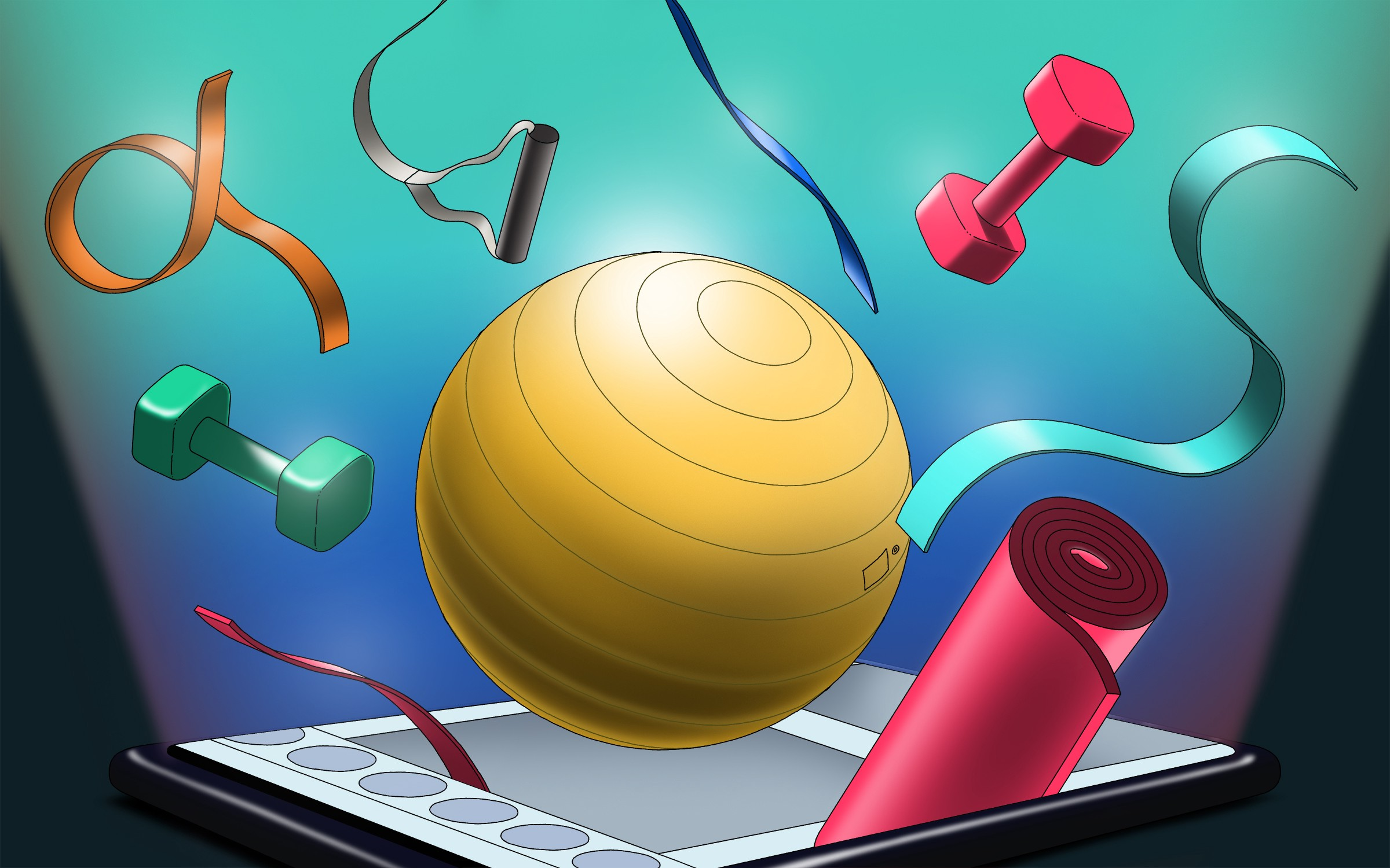 Various fitness equipment such as yoga mats, exercise balls, free weights, and rubber bands projecting out of a phone screen.