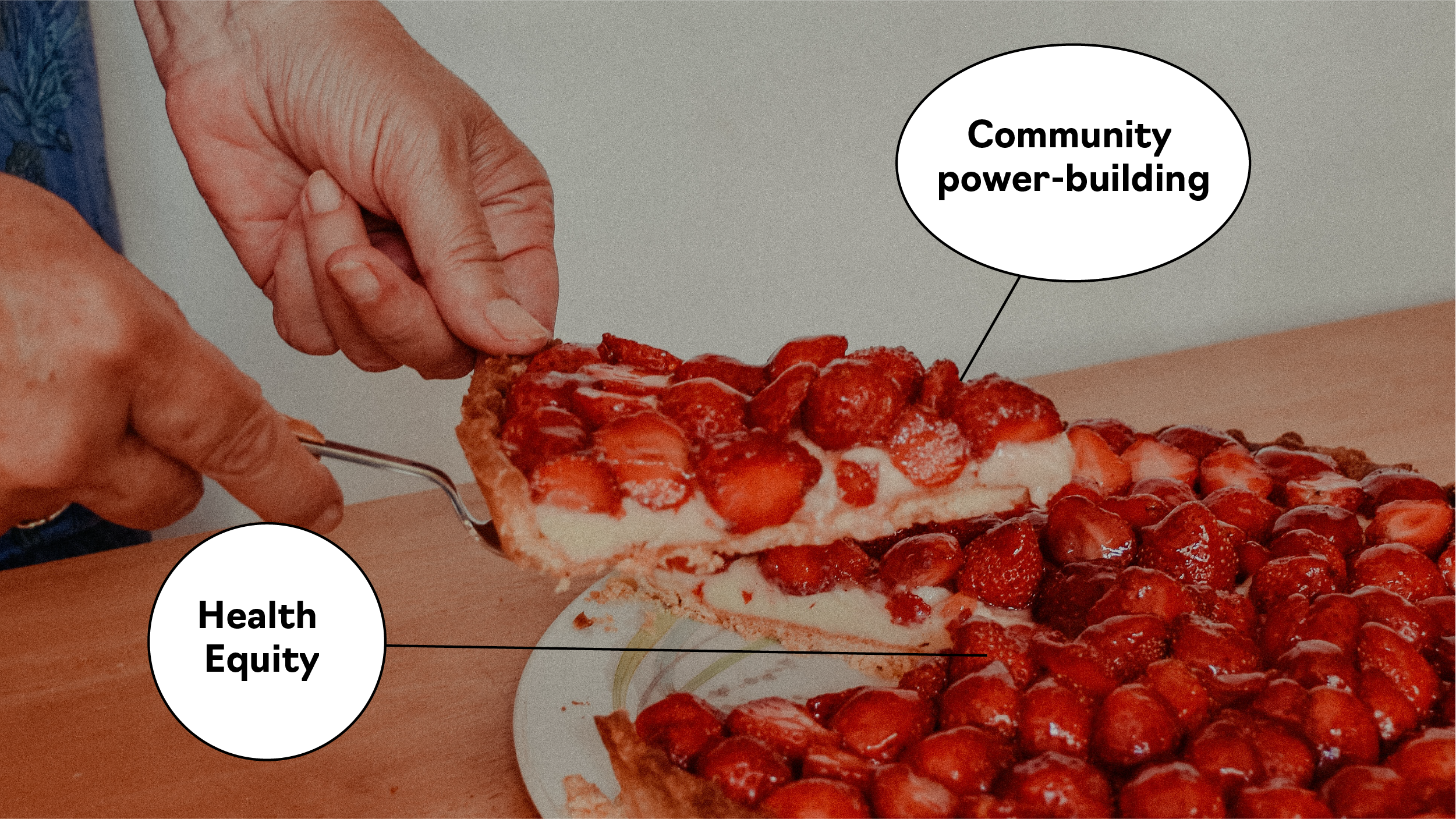 """Image of person's hands cutting a slice of strawberry pie. The slice is labelled """"community power-building"""" and the pie itself is labelled """"health equity."""""""