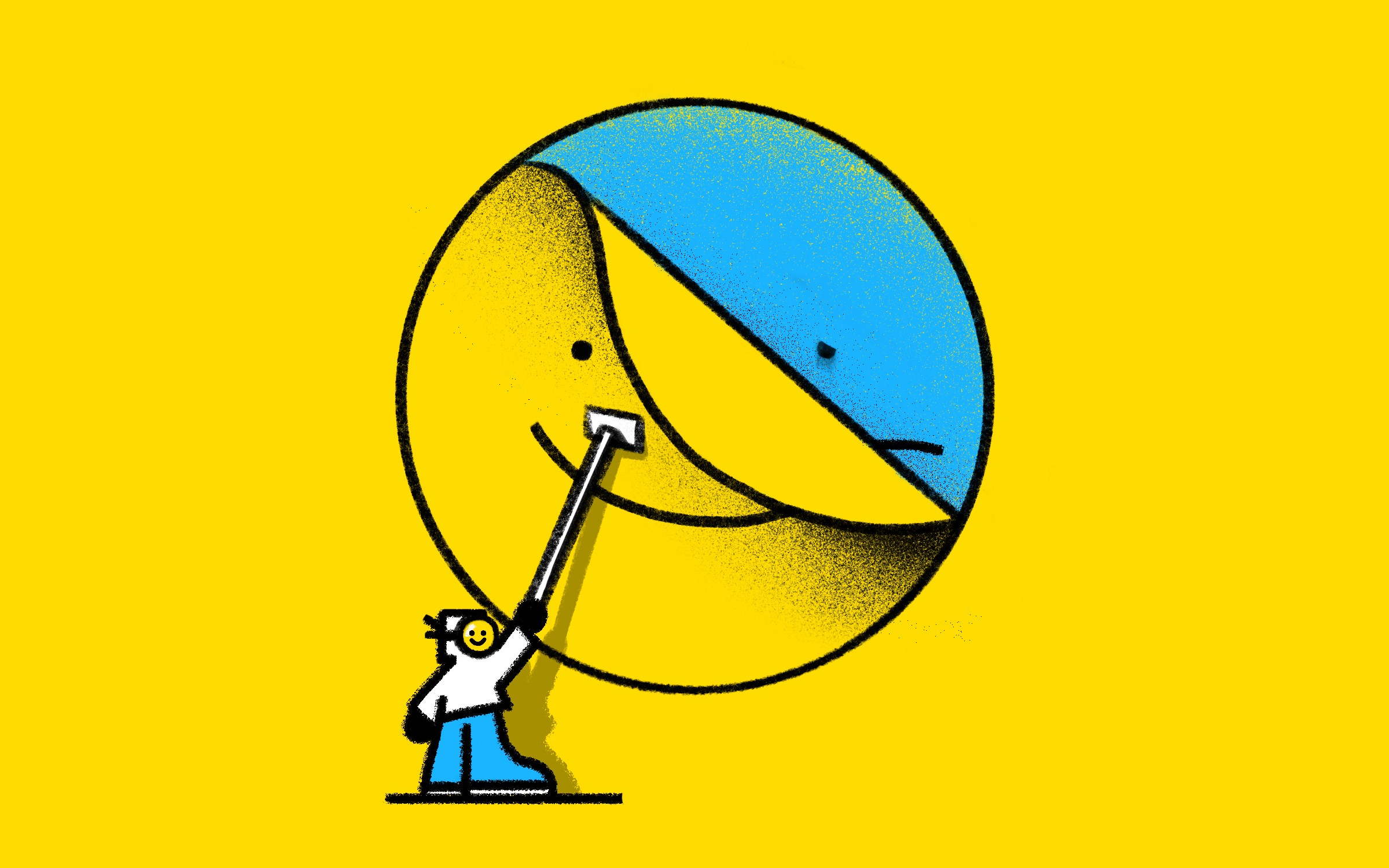 An illustration of a character wall-papering a yellow happy face decal over a blue sad face icon.