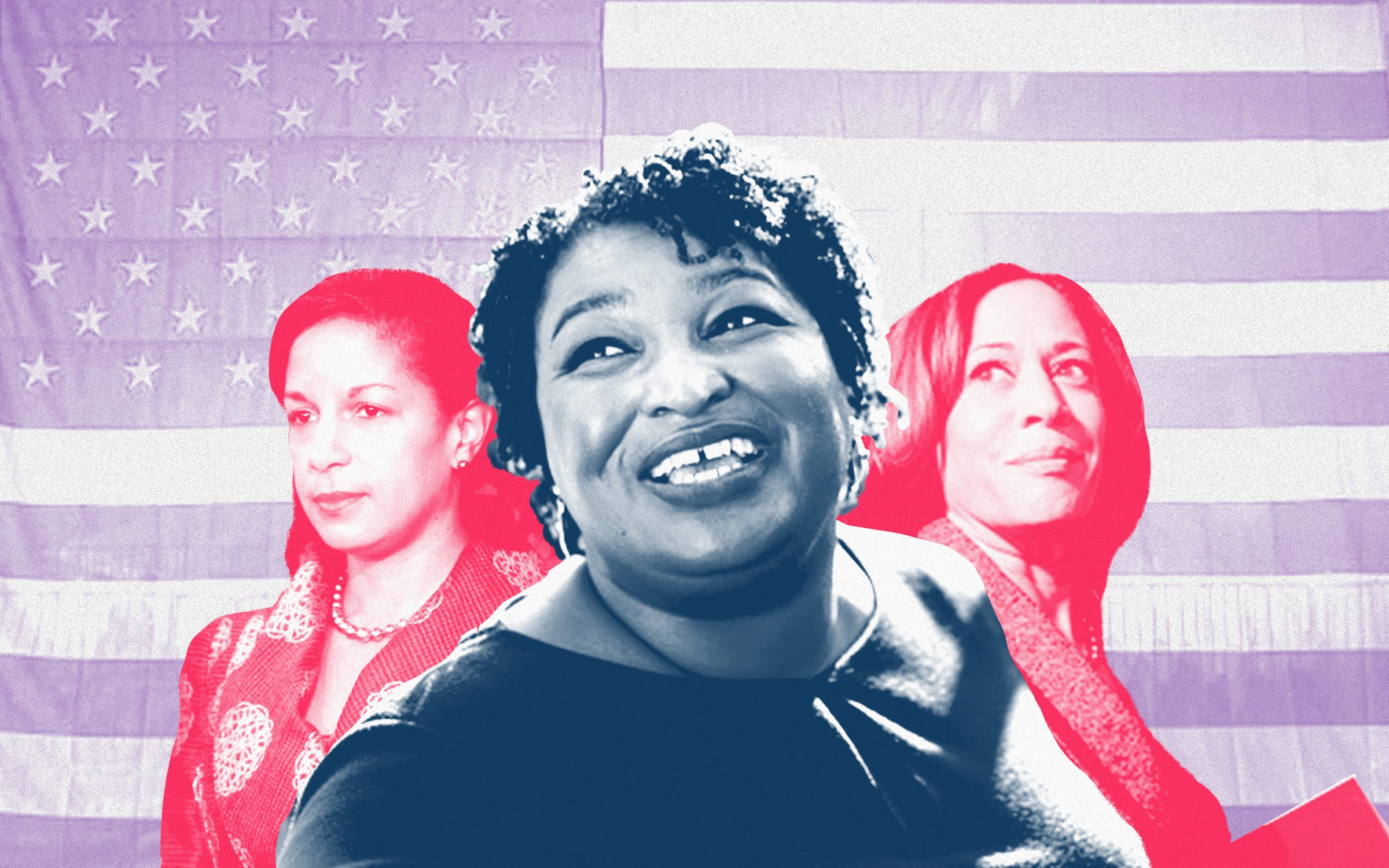 A photo collage of Susan Rice, Stacey Abrams, and Kamala Harris against a United States flag background.