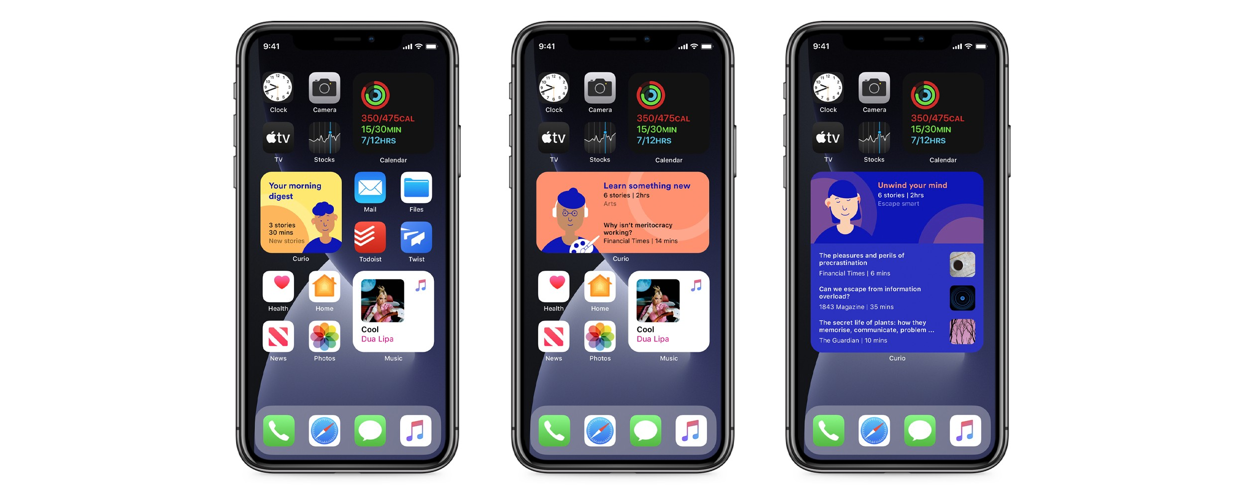 Three phone screens showing different sizes of the Curio widget