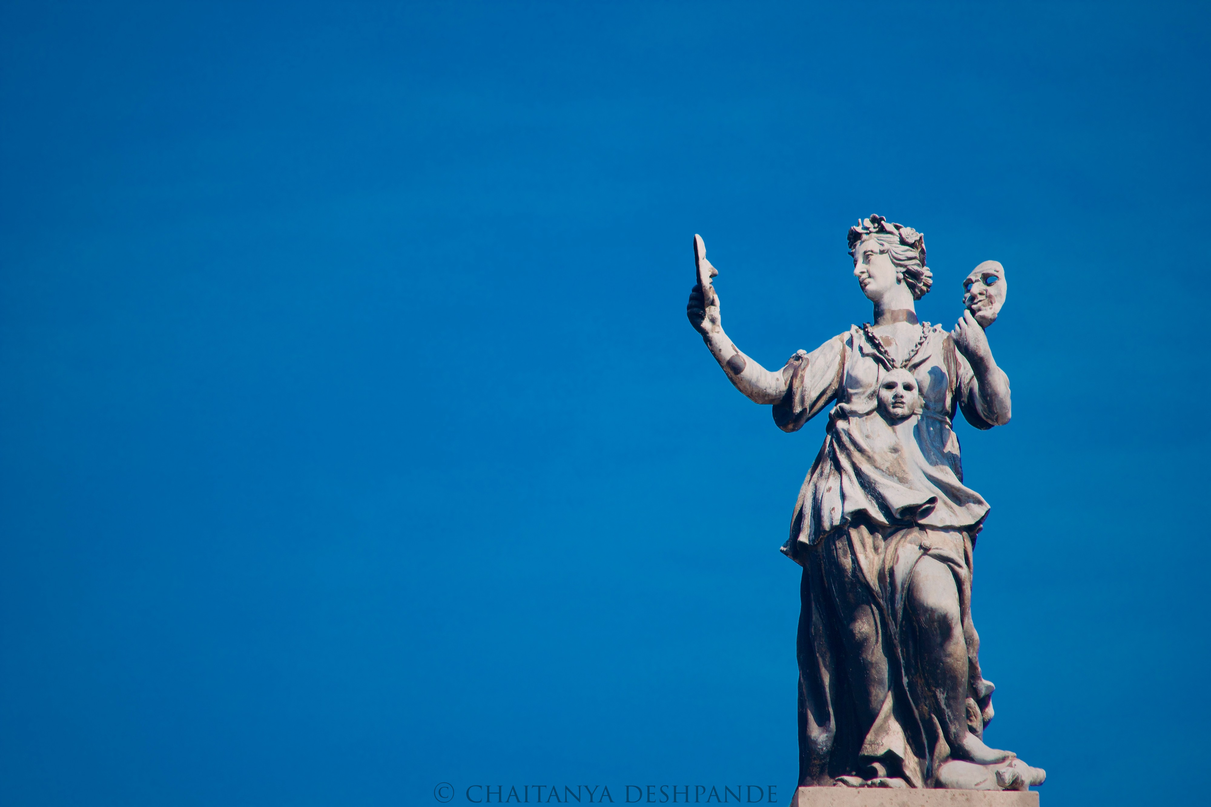 Either Melpomene or Thalia, the muses of tragedy and comedy atop the Old Clarendon Building, Oxford.