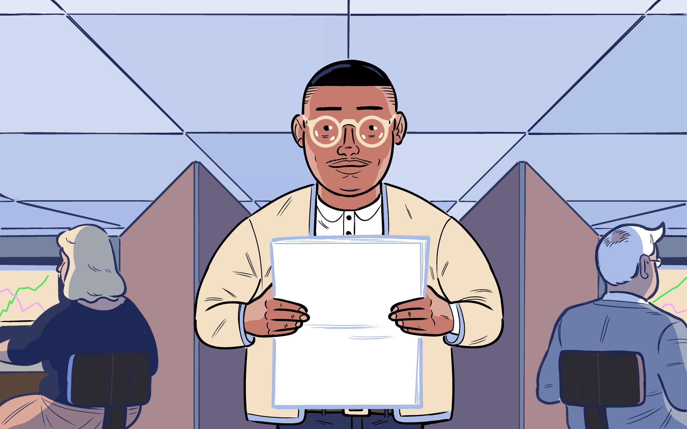 A custom illustration of a Black male office worker, wearing glasses and holding a stack of papers, standing in front of 3 cubicles. In the cubicles behind him are his white coworkers.