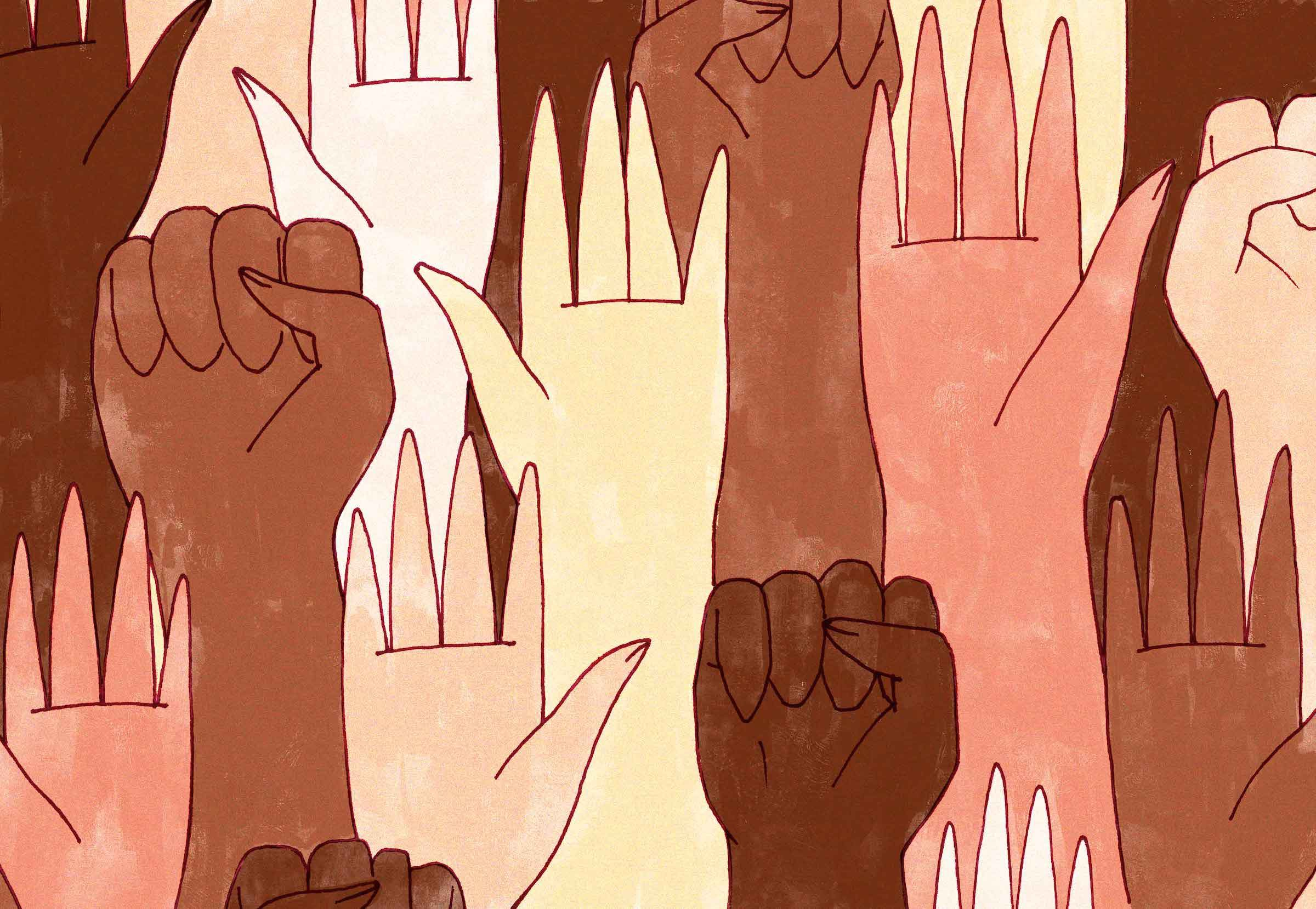 An array of hands, mostly Black and Brown, and some White. Some of the hands are held in the Black power fist.