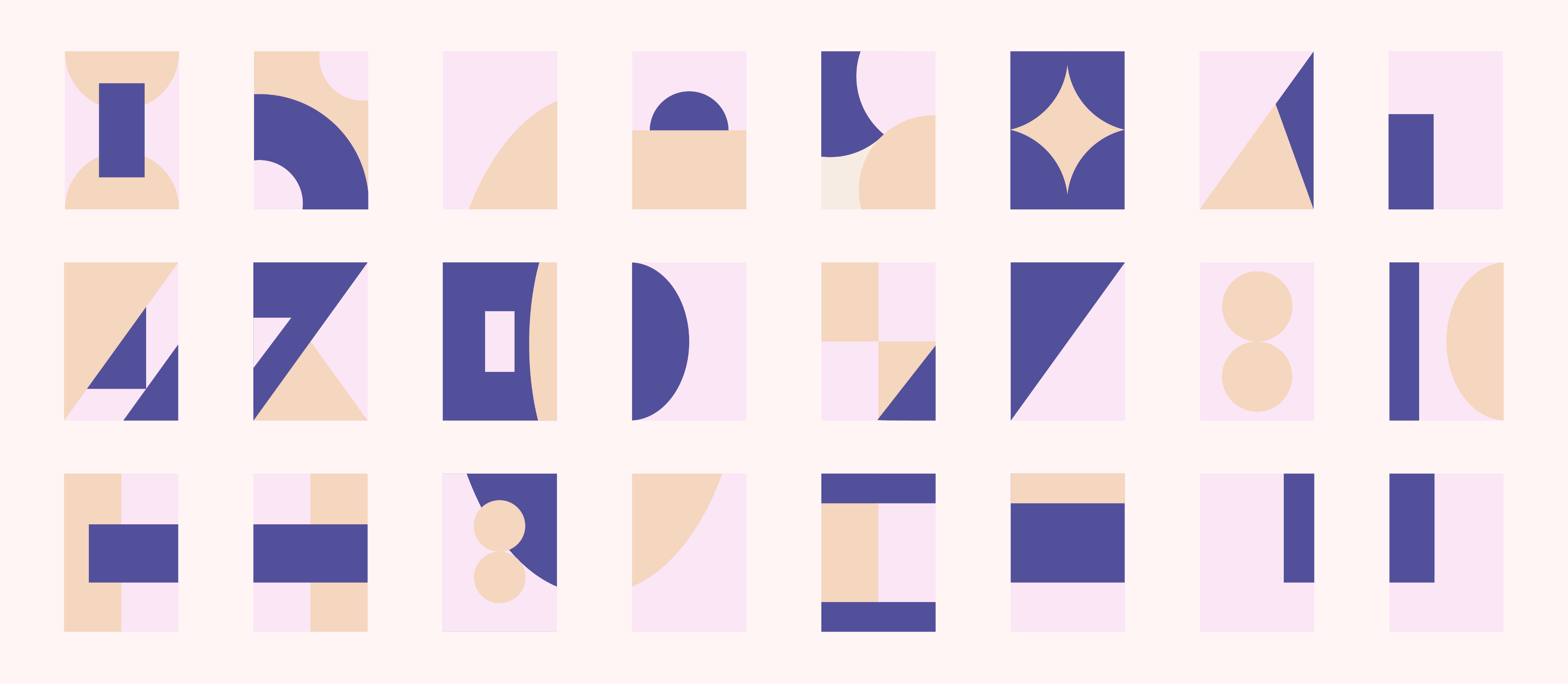 Set of rectangles with abstract shapes in navy, peach and pink. Individually, they look like book covers. As a set, like 2021