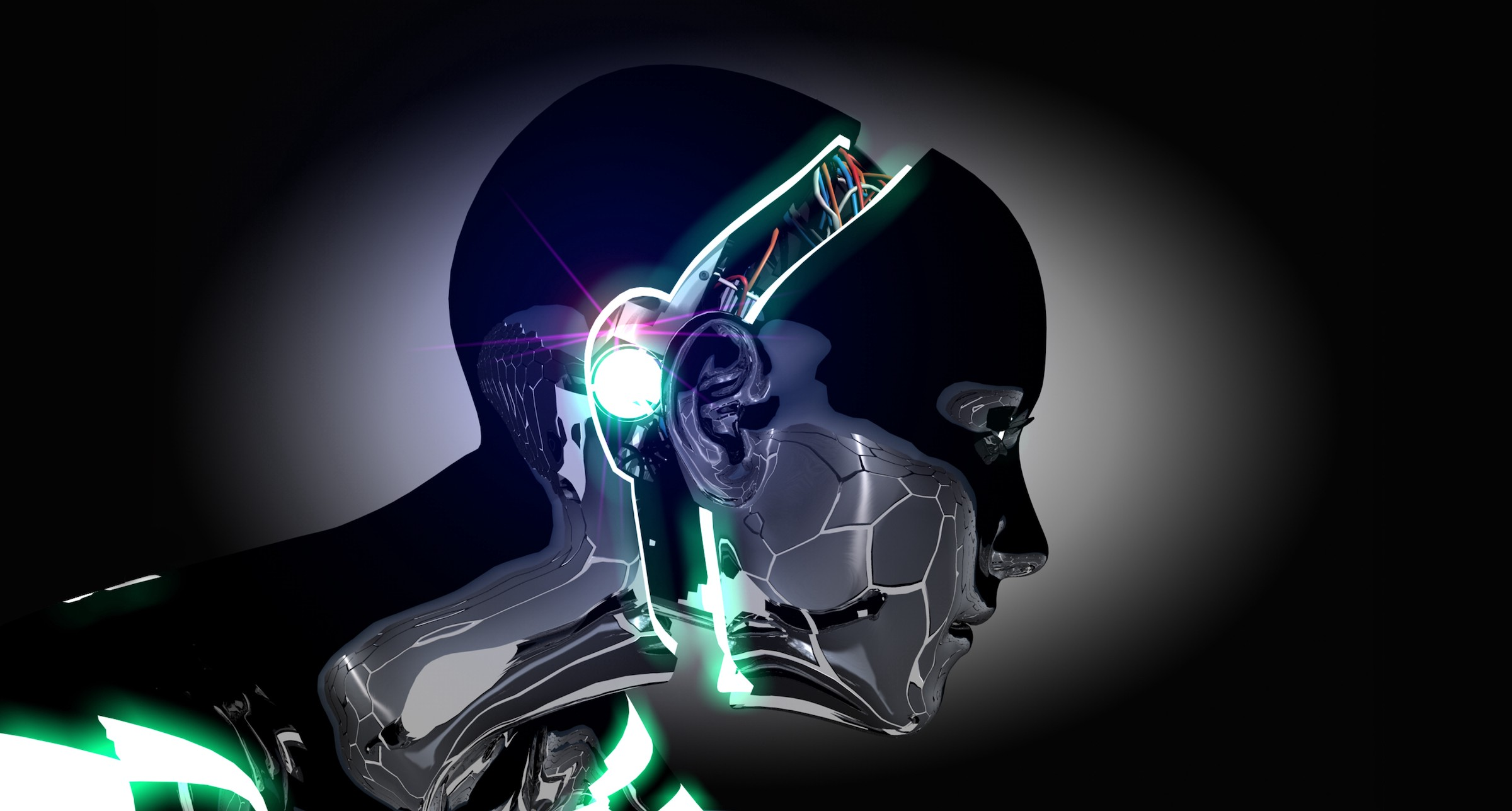 Illustration of a cyborg from the collarbones up, facing the right side of the image, in a dark space. Its metal face has been slightly detached from the rest of its head to reveal the computer chips and wires inside.