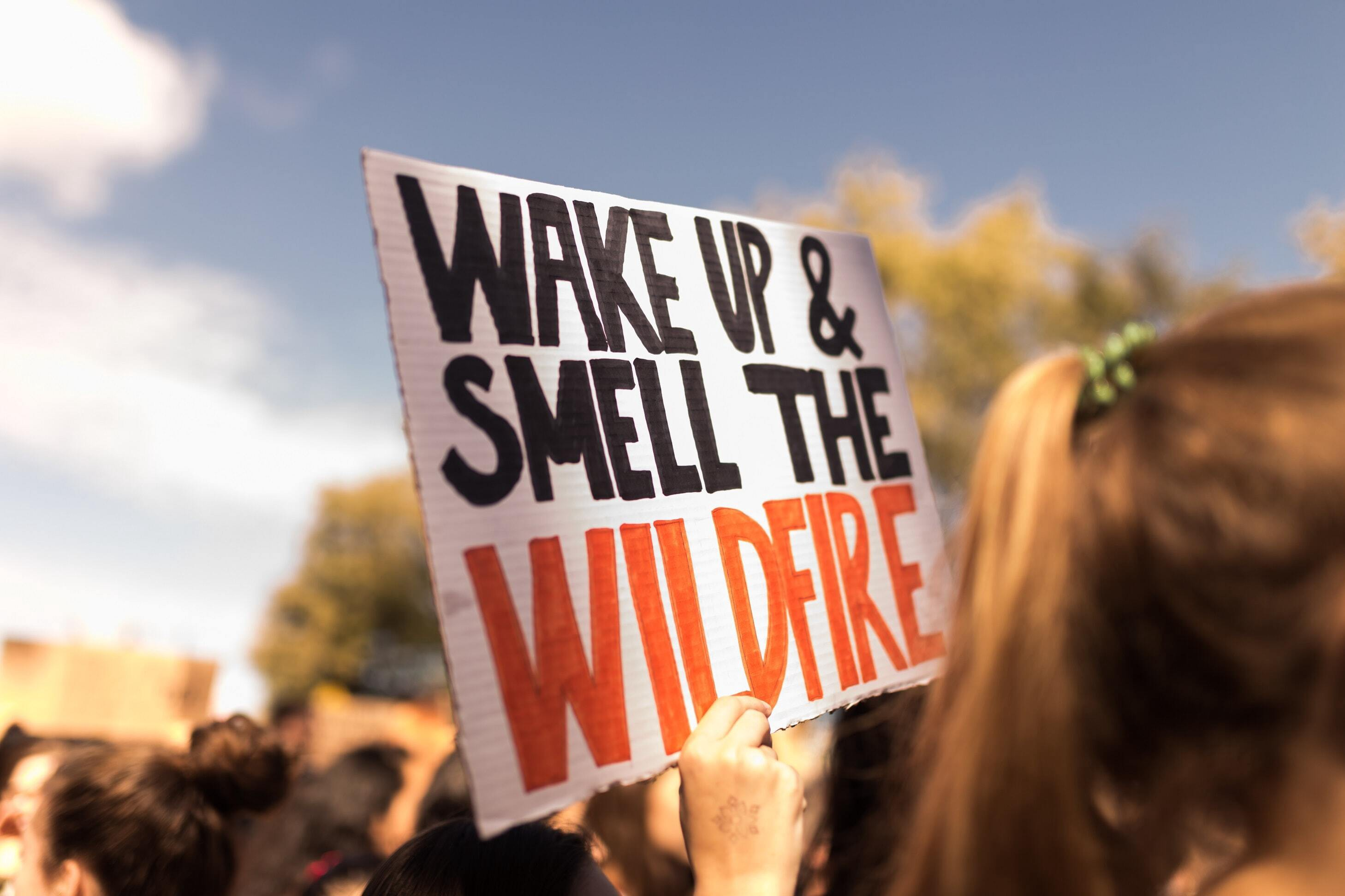 Person holding sign that says wake up and smell the wildfire