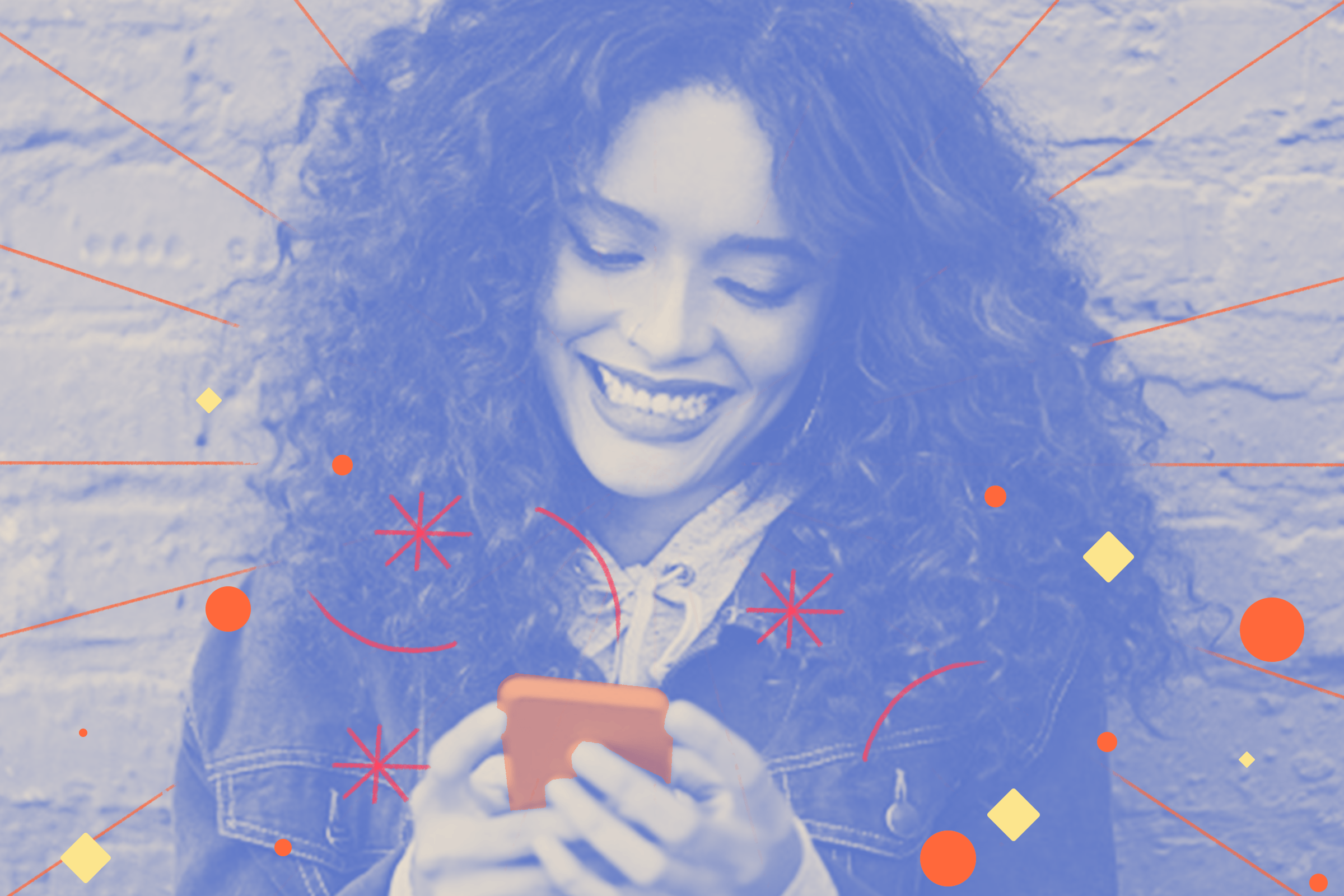 Blue filtered image of a woman with curly hair looking at her phone with a smile.