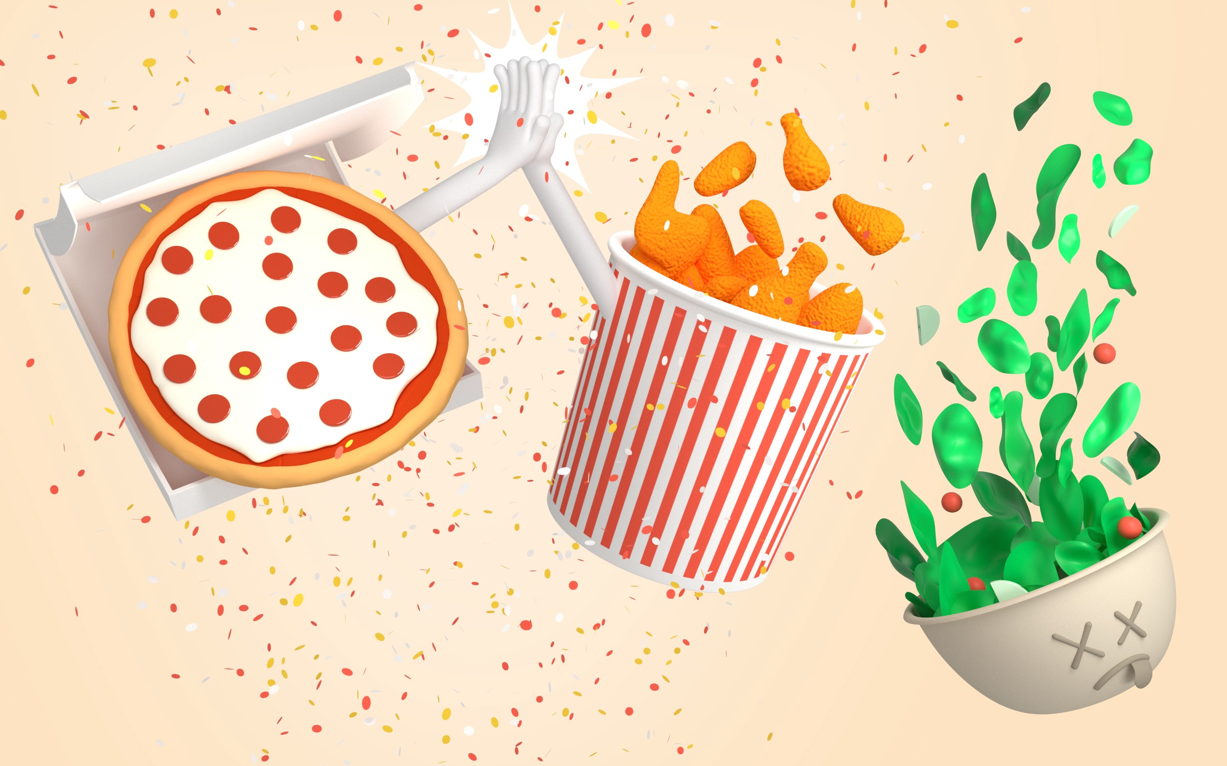 A pizza box, a bucket of drumsticks, and a salad bowl in free fall, as the pizza and drumsticks bucket high-five each other.