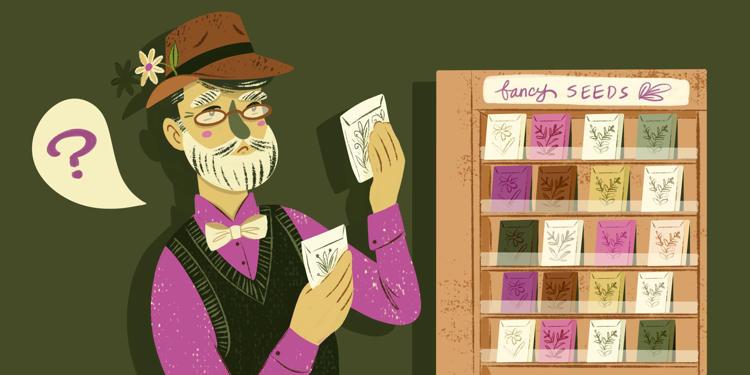 Illustration of a dapper man with a beard looking over two seed packets. There's a display next to him with many seed packets and he has a speech bubble with a question mark.