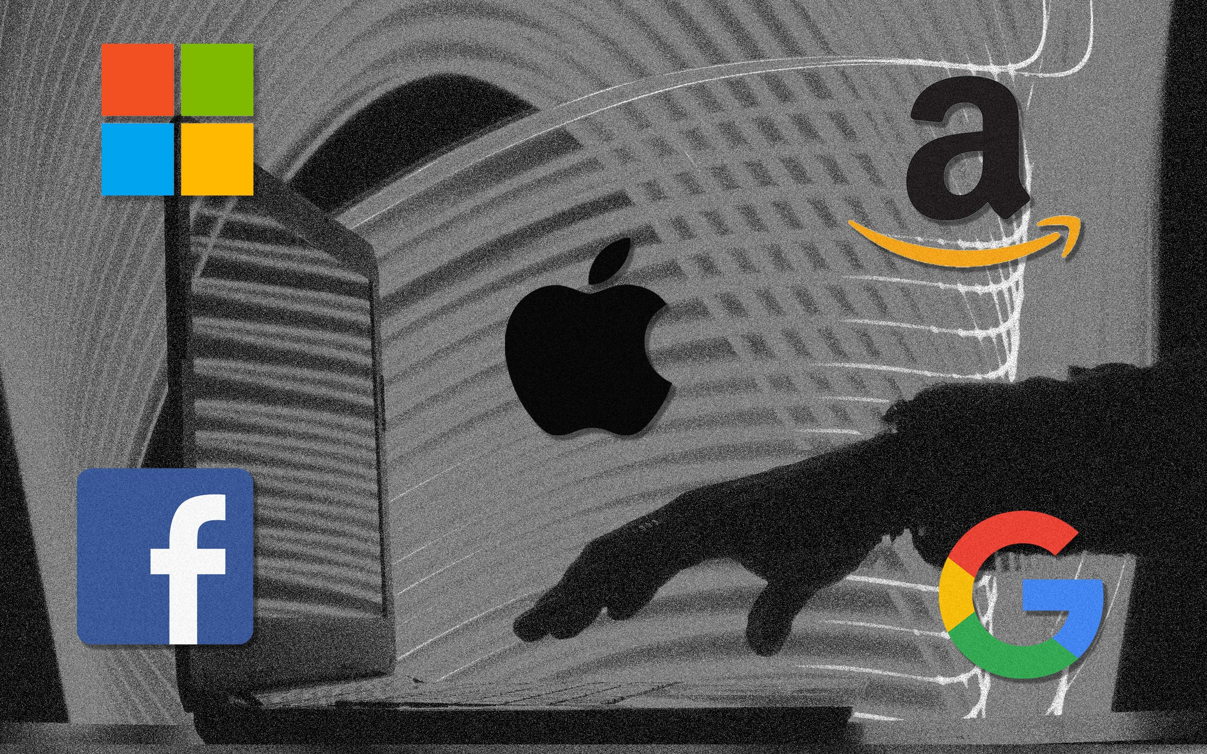 Apple, Microsoft, Amazon, Facebook, and Google logos superimposed over another image of a hand reaching for an open laptop.