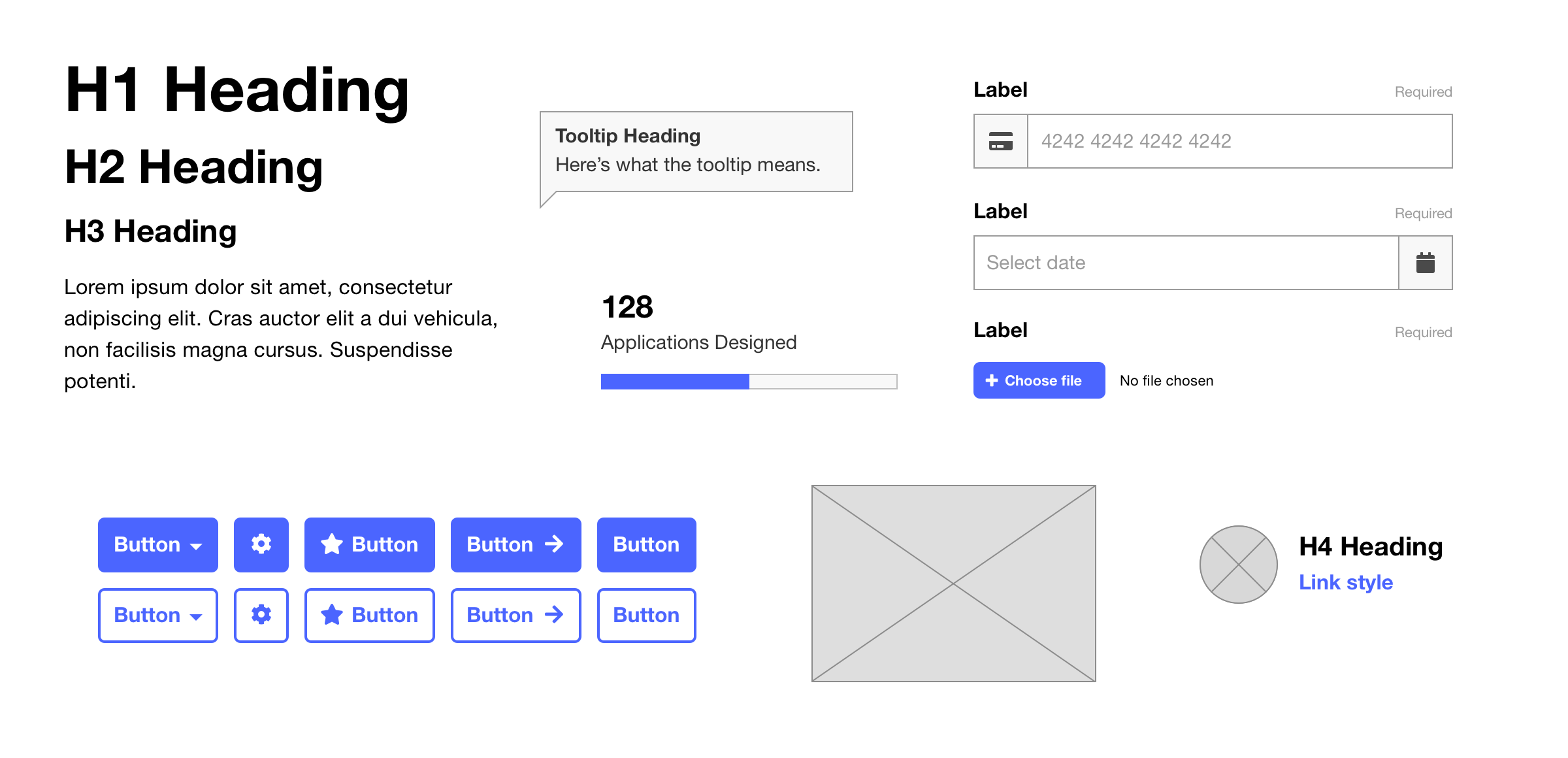 Sample of interface elements in a simple style including buttons, form fields and text styles