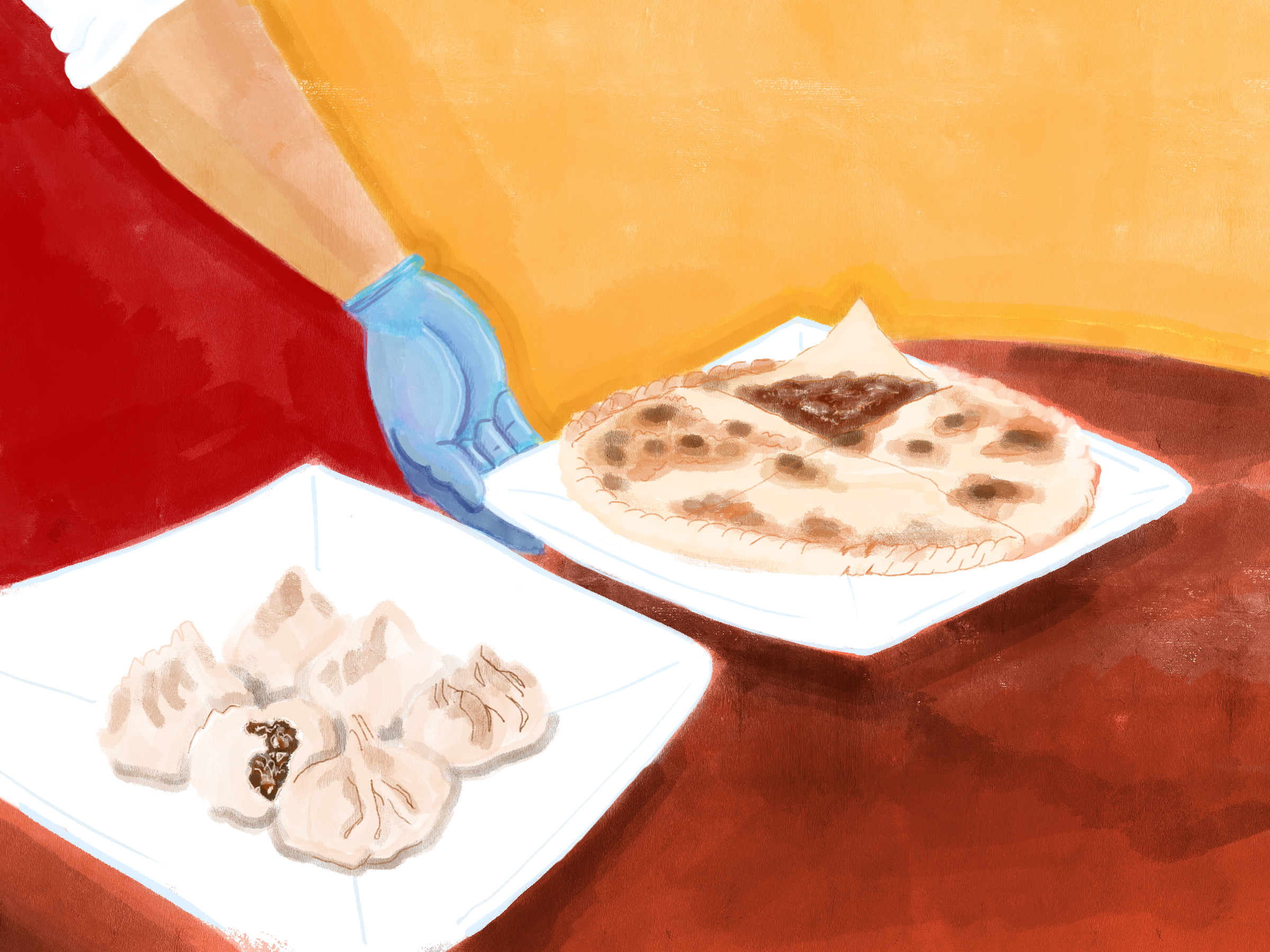 Samsa and naan, both featured in Uyghur cuisine.