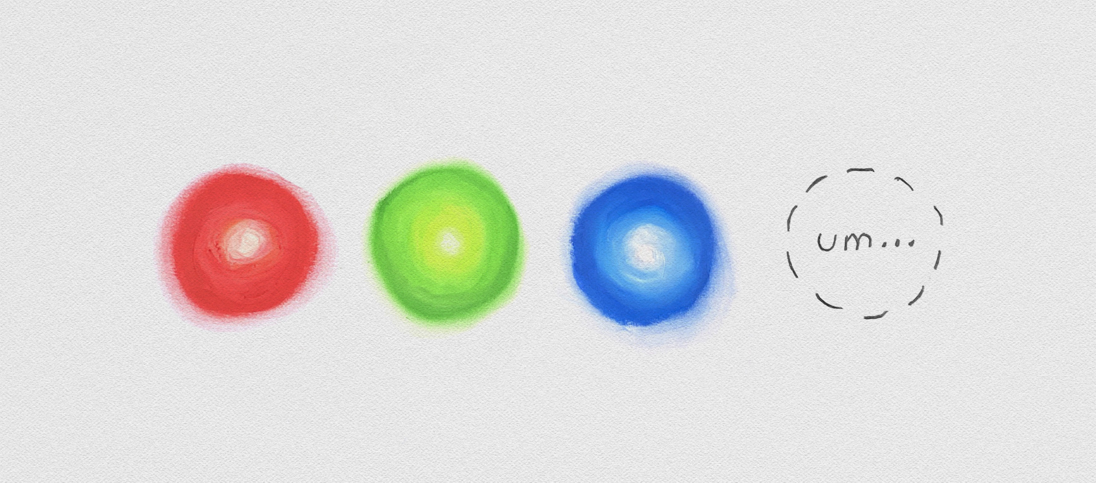Three dots representing good cheap and fast, and a fourth empty dot.
