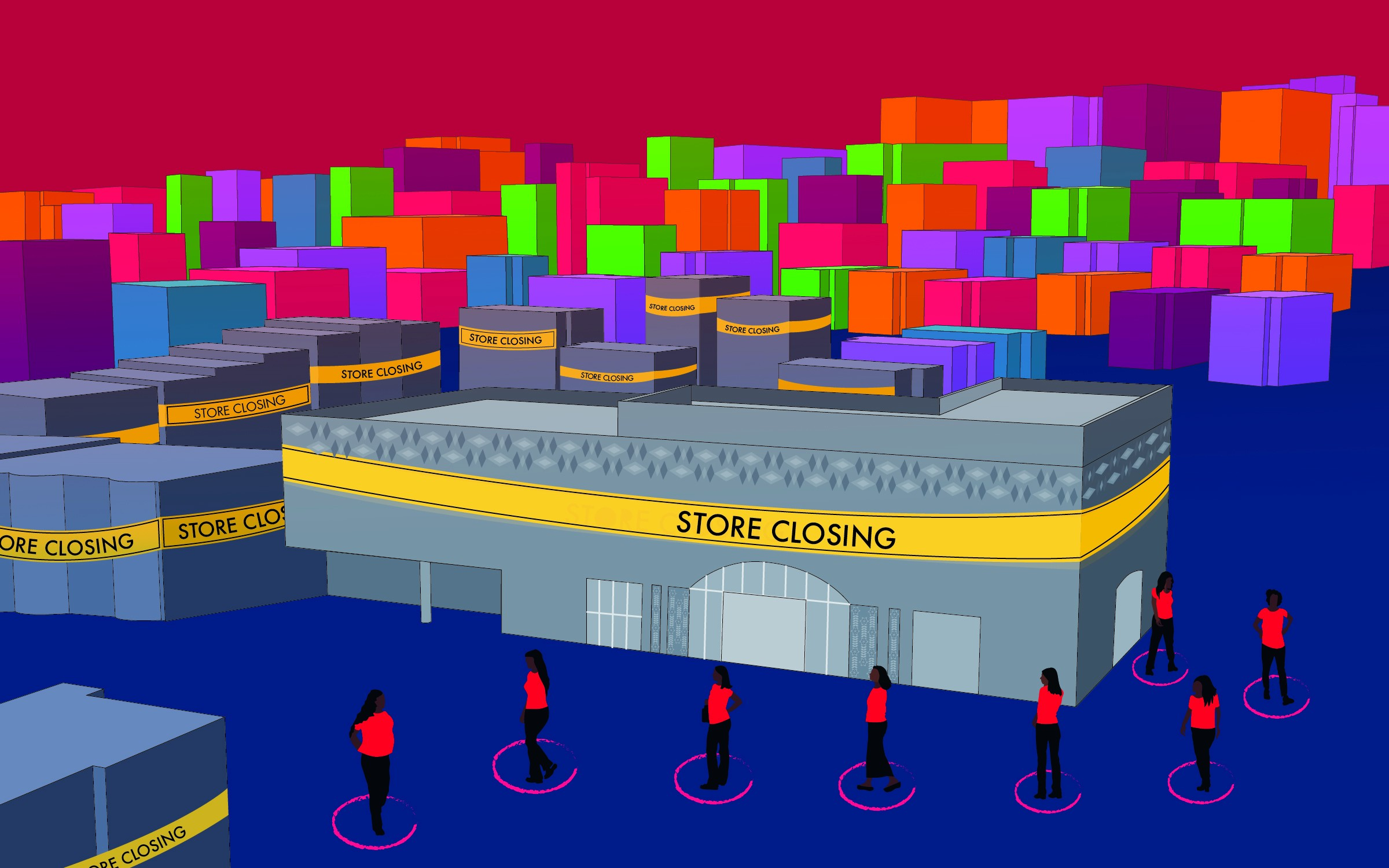 """A graphic illustration of a big store with a """"store closing"""" sign wrapped around it. Women wait in line 6 feet apart."""