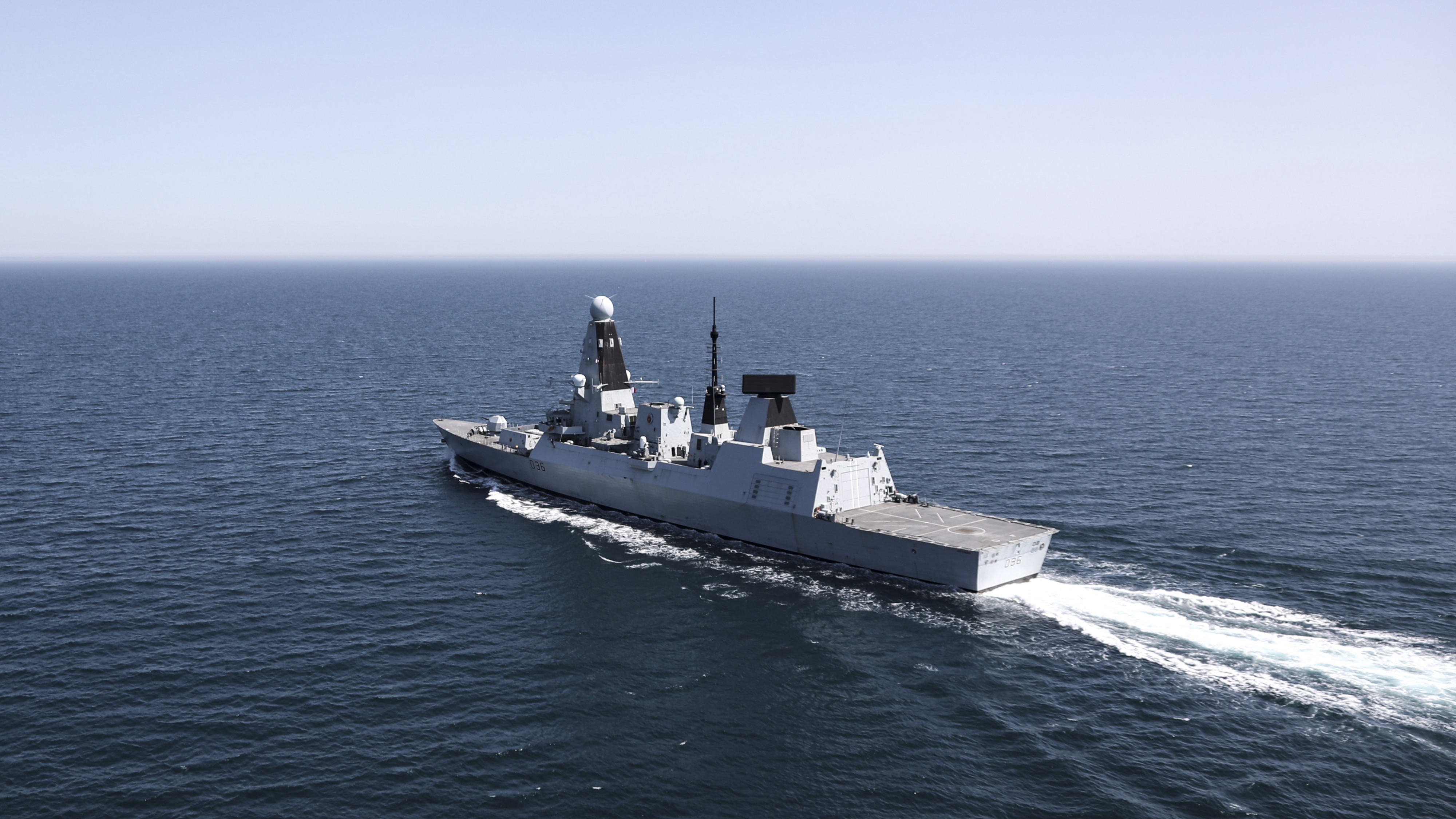 An image of HMS Defender out at sea.