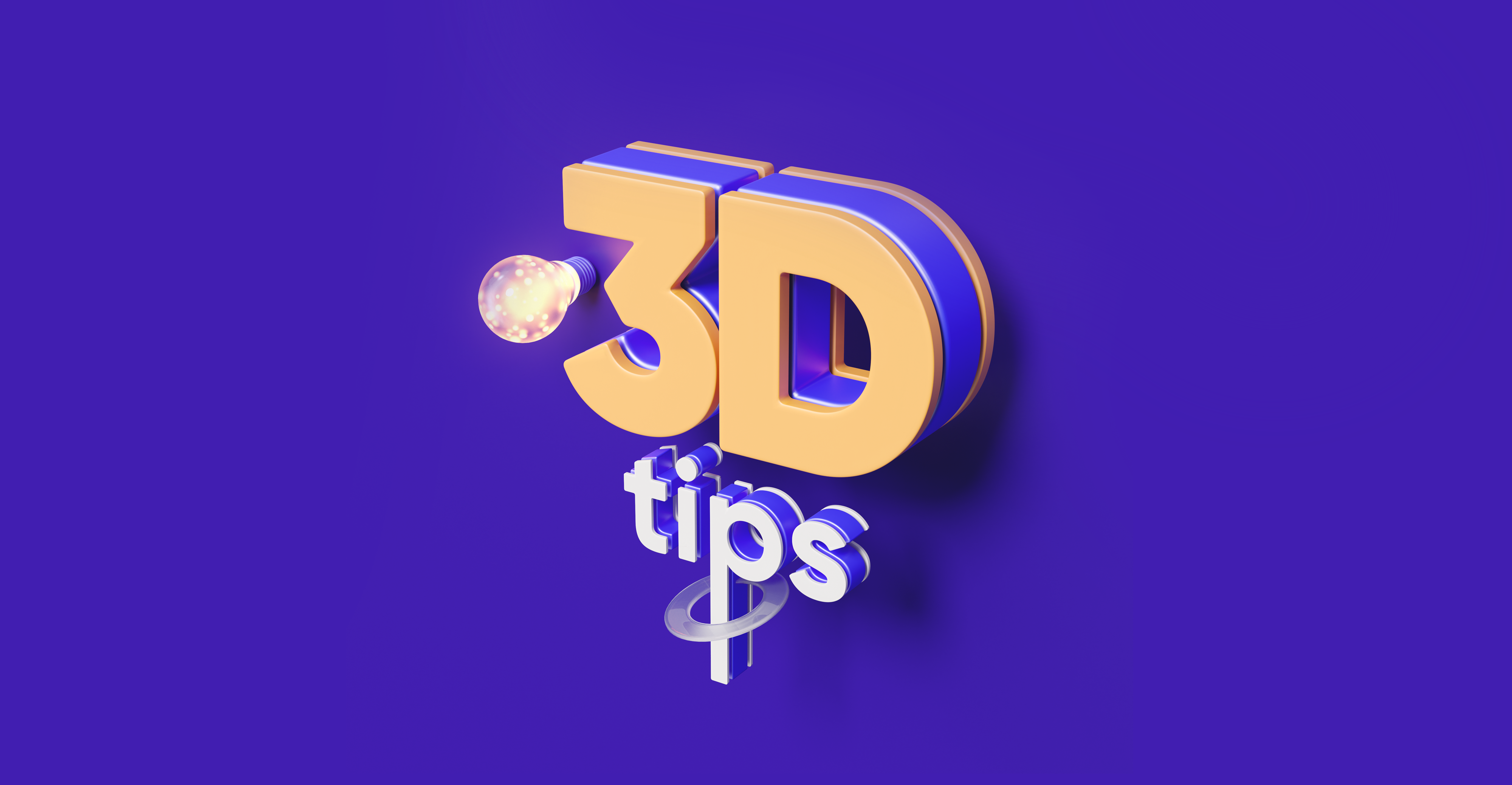 """Yellow letters """"3D tips"""" on purple background"""