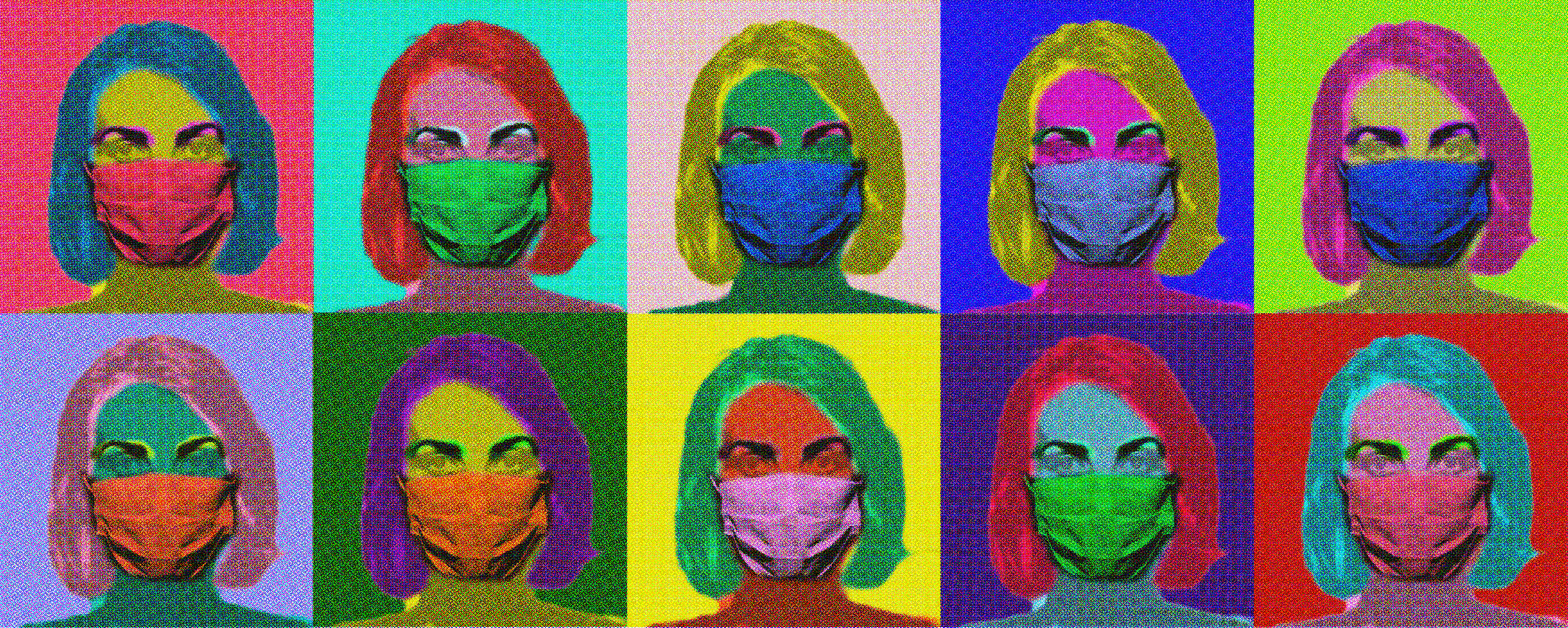 Andy Warhol style digital art with a women wearing a mask in colorful silk screen colors in a repeated grid.