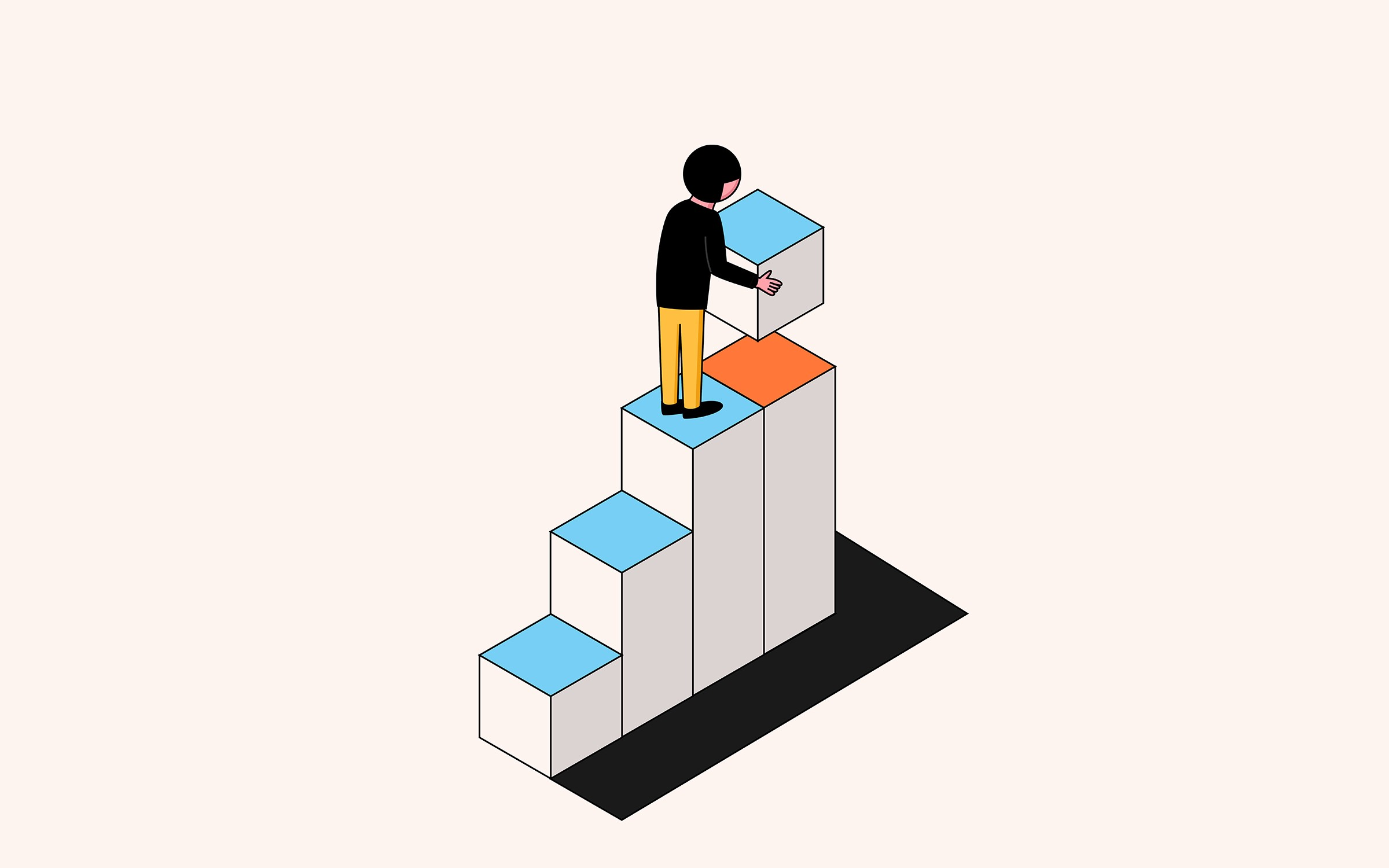 An illustration of a person walking up building blocks and holding the block for the next step.
