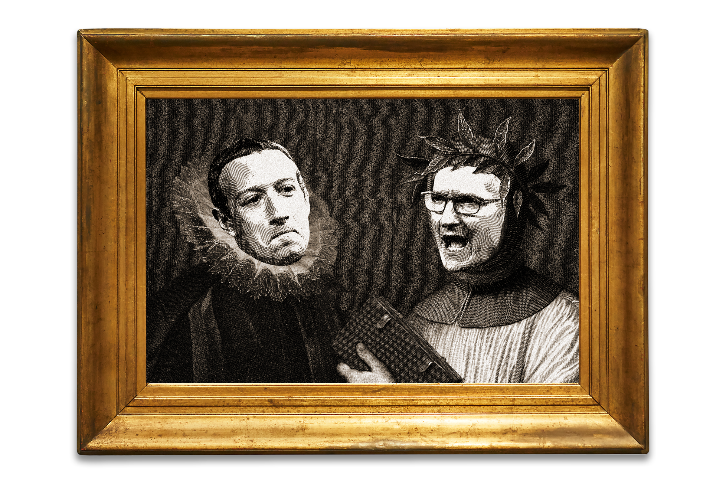 A photo illustration of Mark Zuckerberg and Tim Cook faces superimposed on to famous ancient orators in a painting and arguing.