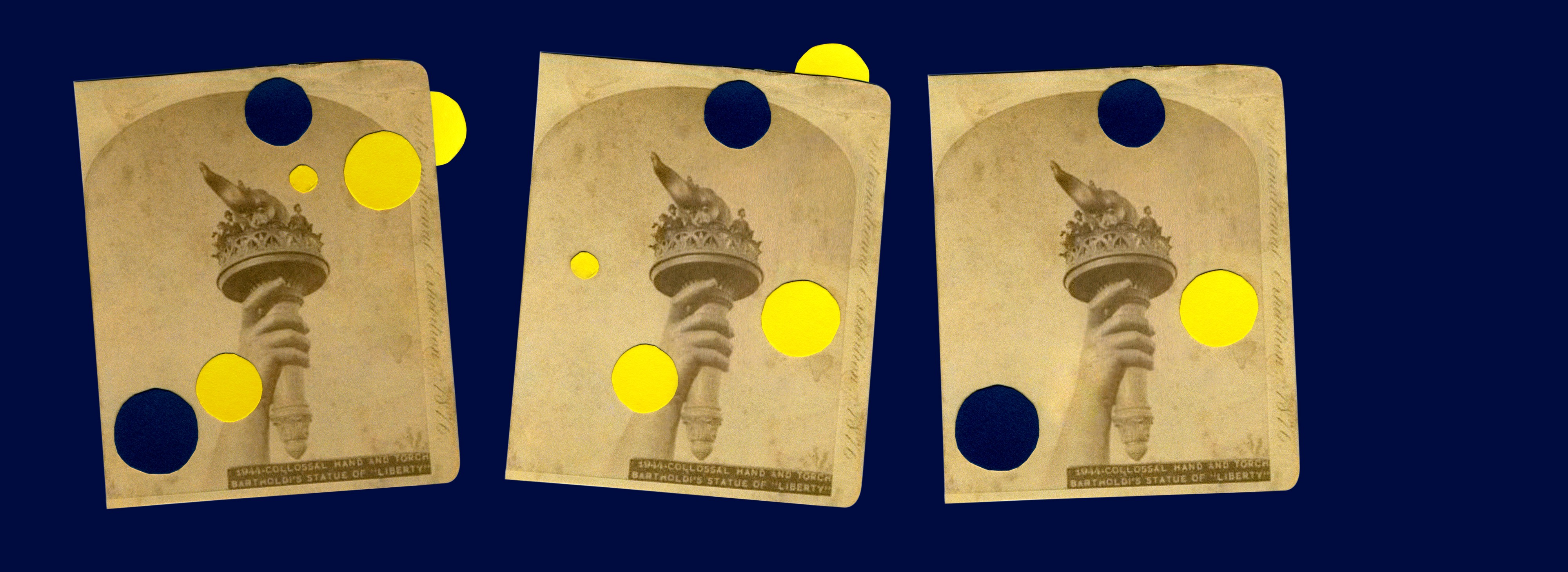 Collage with three repeated vintage photos of the Statue of Liberty's torch