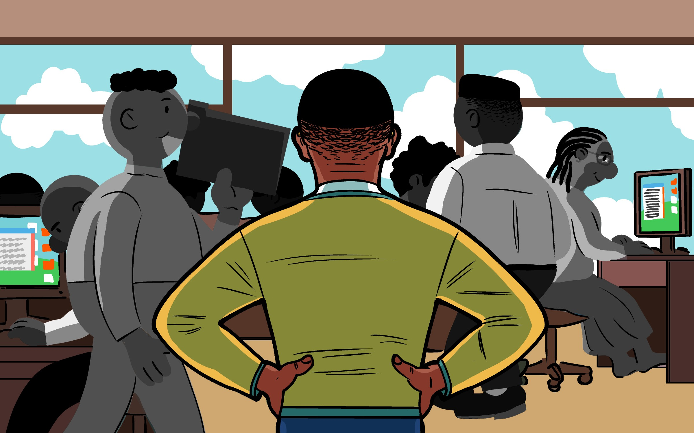 A Black person with very short hair standing with their back to us with their hands on their hips. They're facing an office populated with all Black coworkers. Large glass windows show a partly cloudy sky.