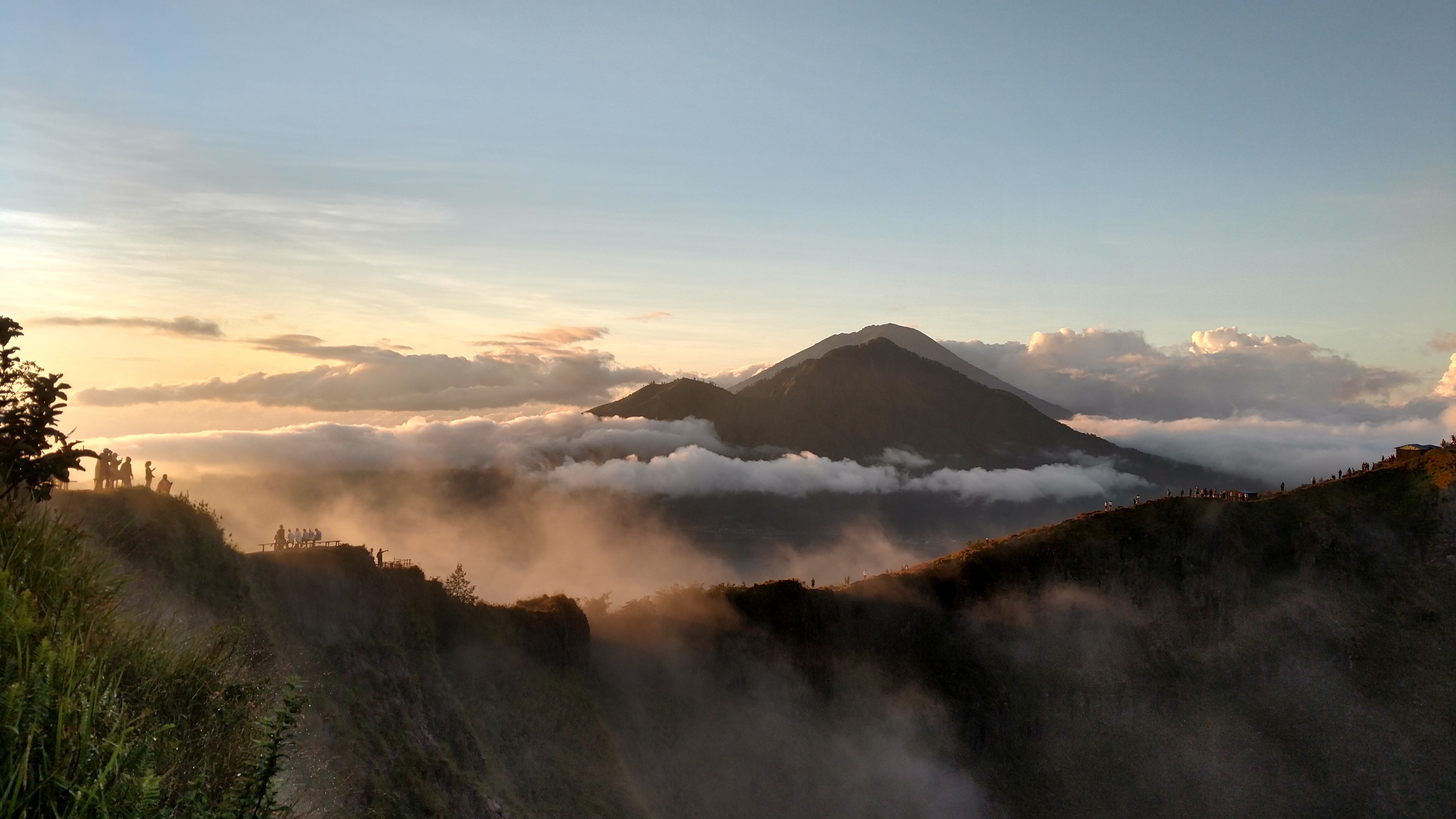A picture of a Balinese volcano at sunrise