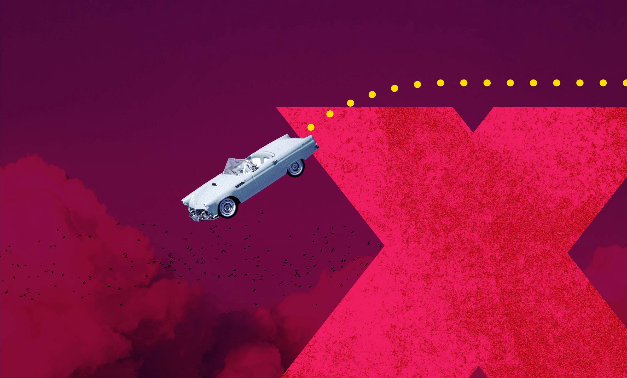 Graphic of a classic car careening off the edge of a cliff formed by the letter X into dark pink clouds.