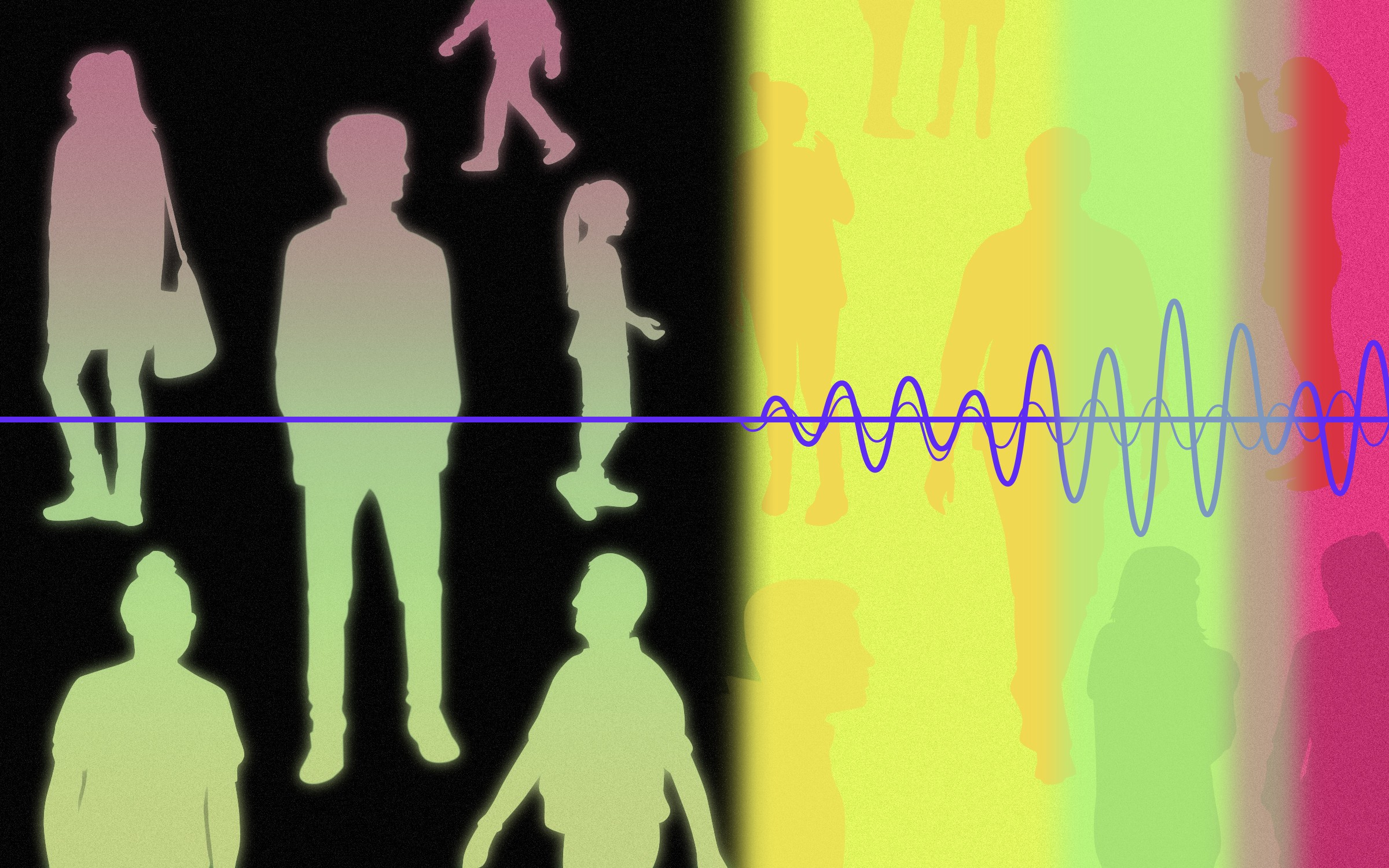 An illustration with audio waves juxtaposed over silhouettes of many different people.