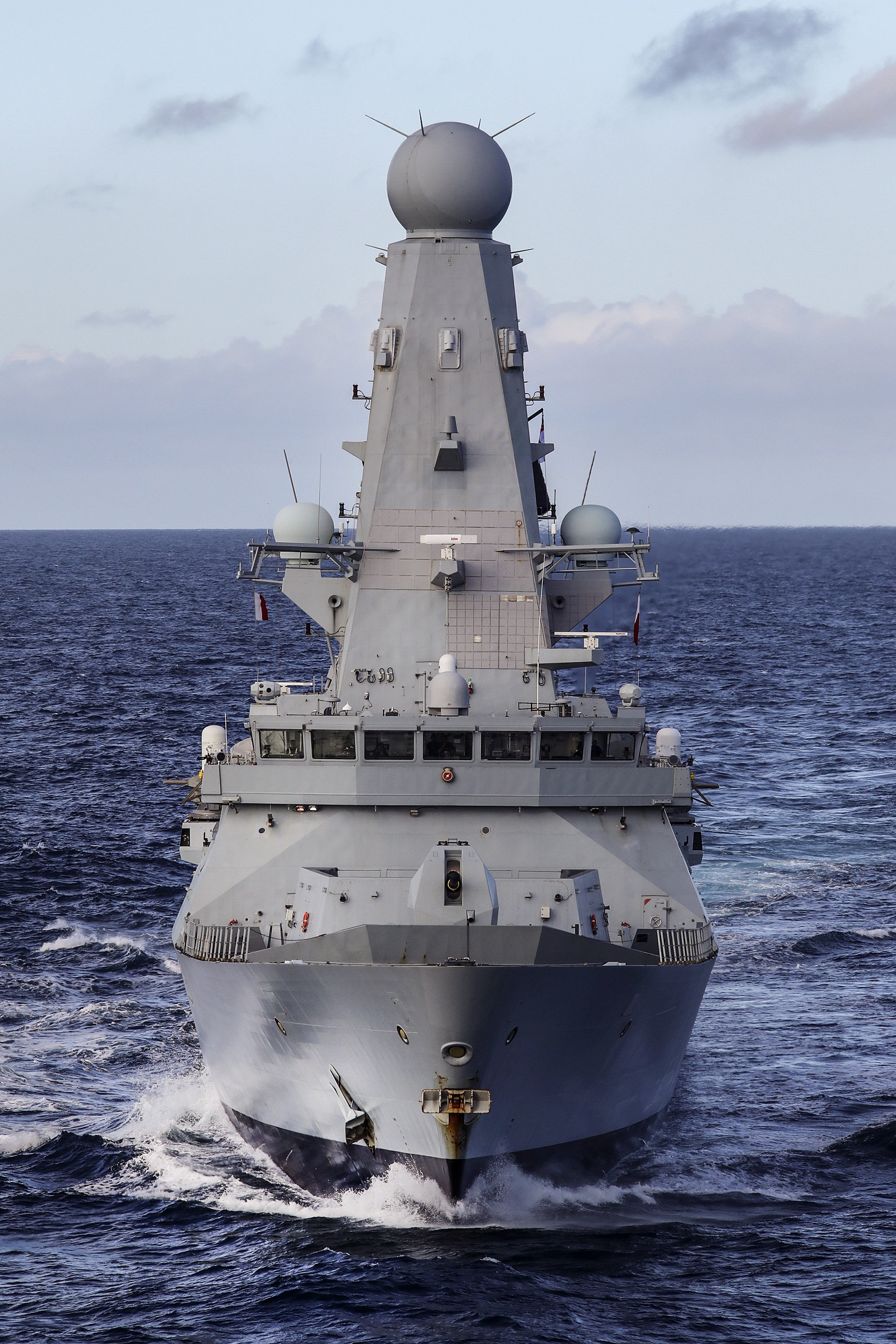 Image of HMS Defender in the sea, with the front of the ship facing the camera
