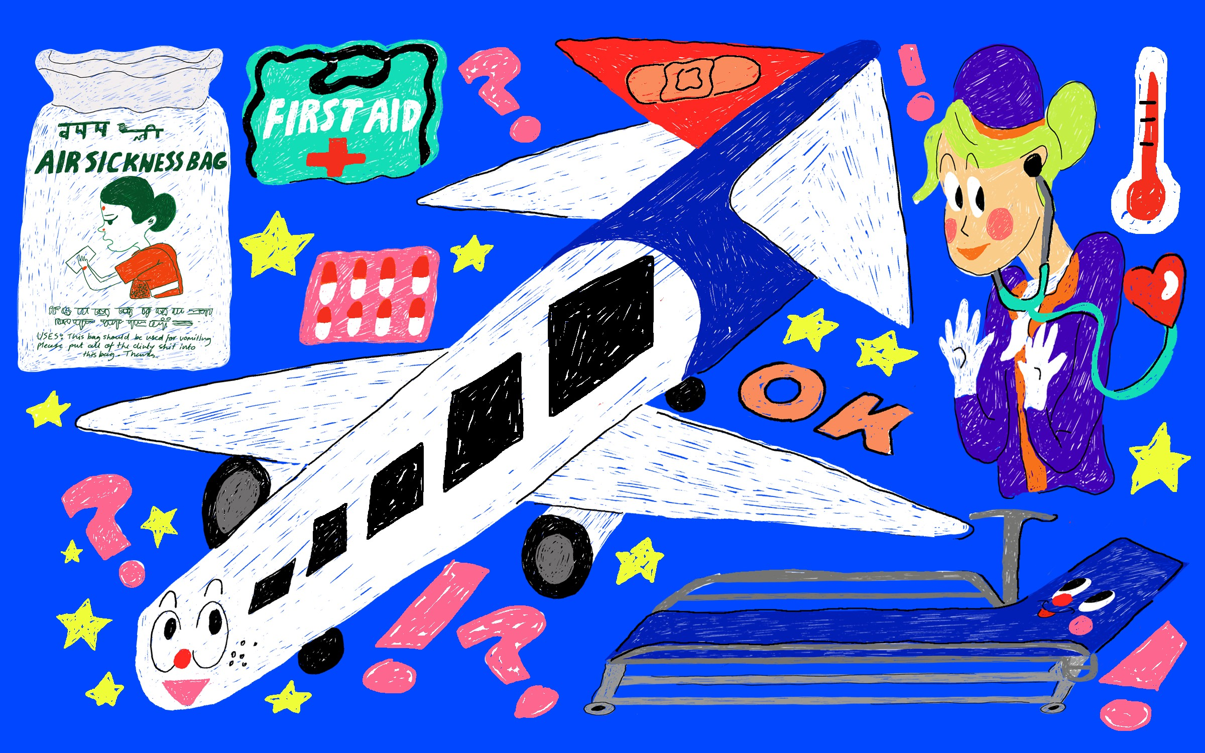 A collage illustration of a plane, air sickness bag, a first aid kit, a bandaid, pills, and a flight attendant.