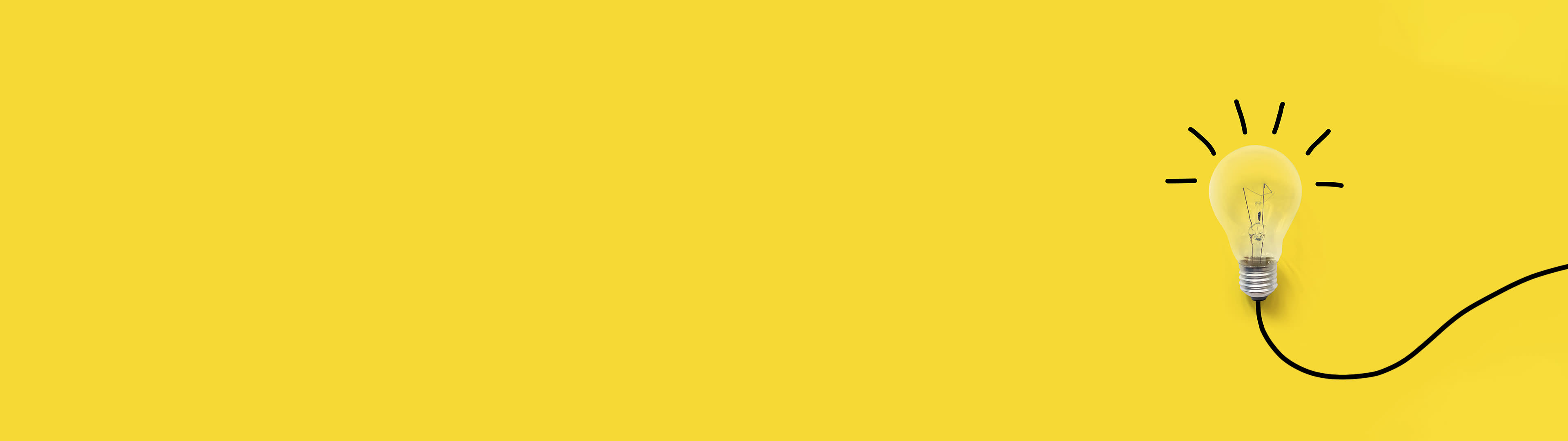 Light bulb with an illustrated shine on a yellow background