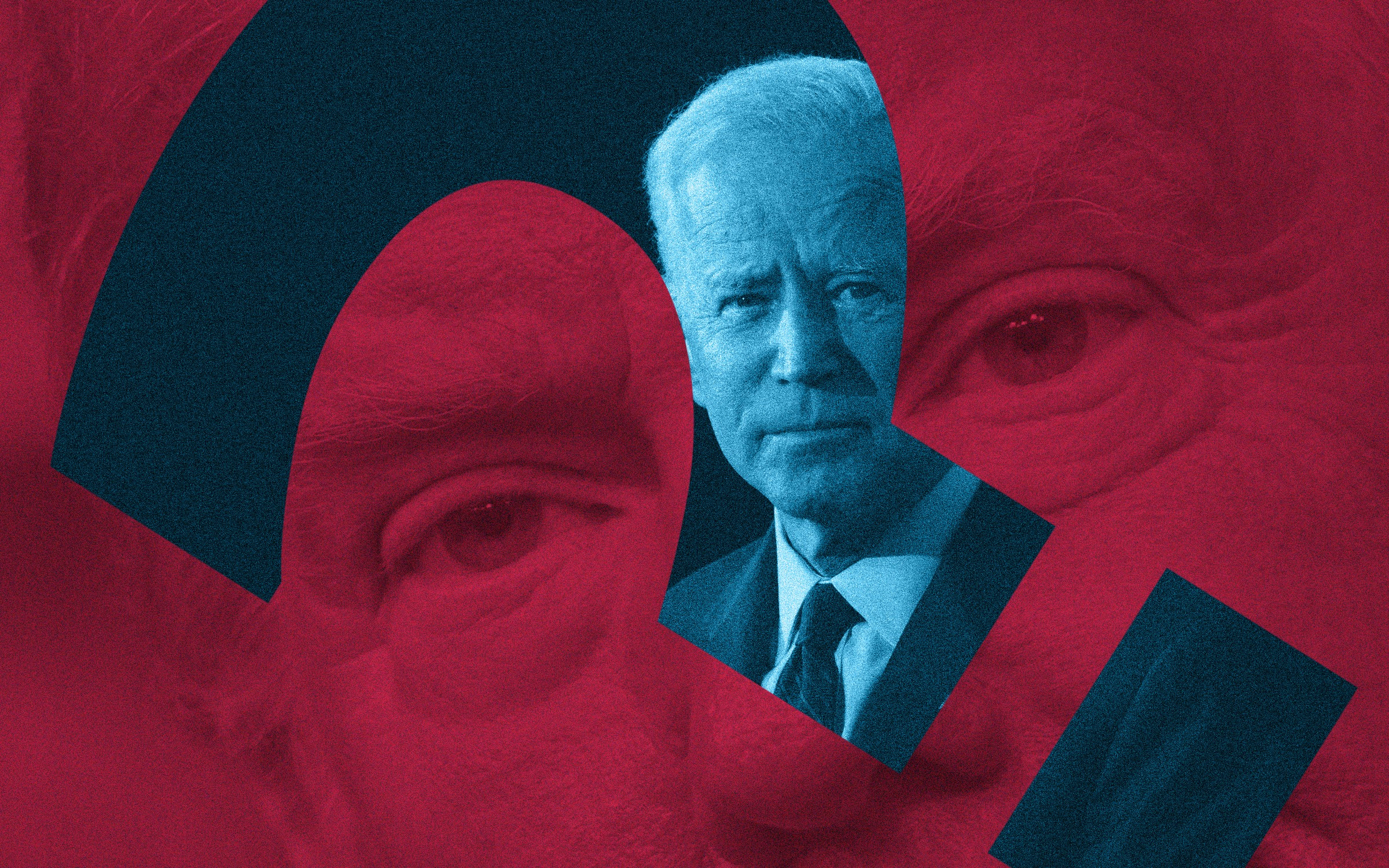 Red background close-up of Trump's face against a question mark-shaped blue cut out of Joe Biden in foreground.