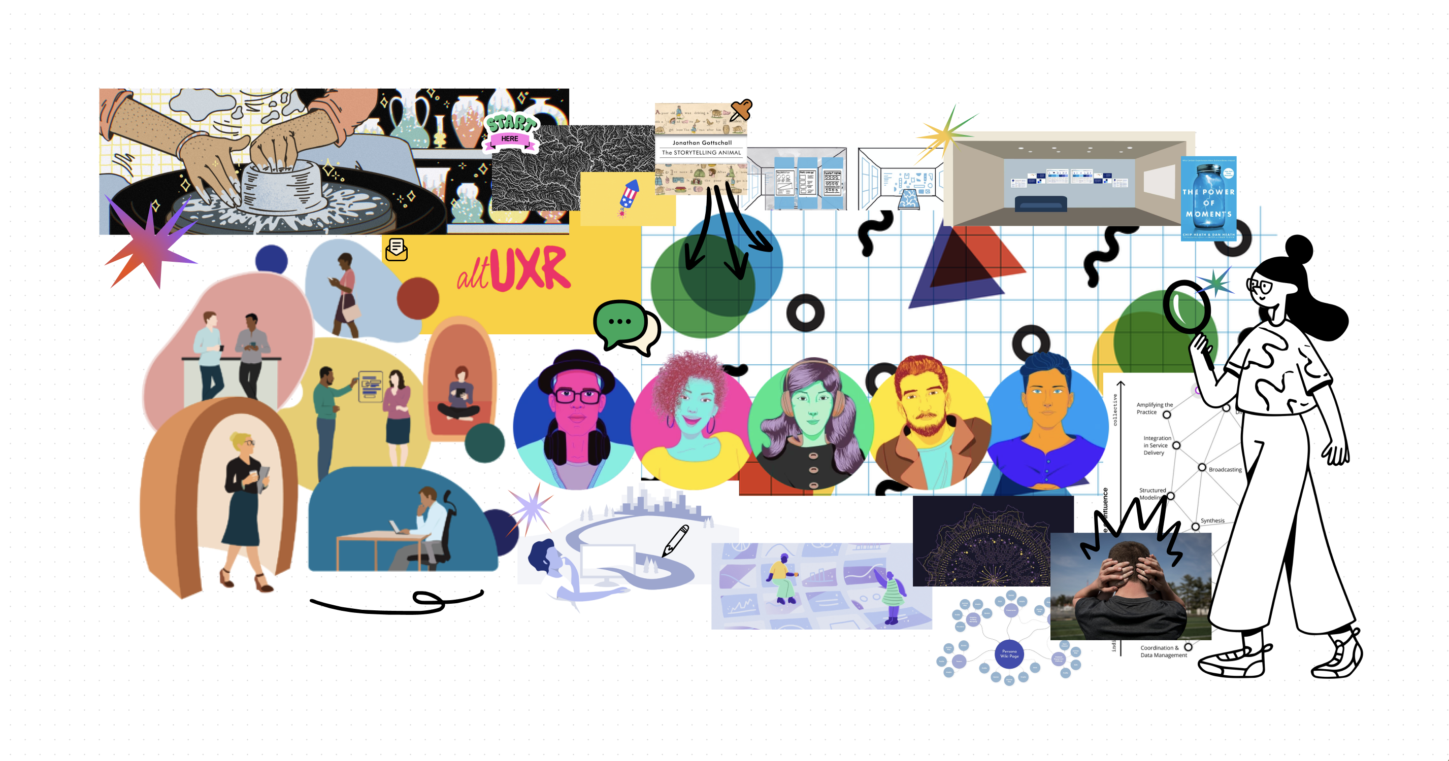 An image cluster made up of illustrations in various styles showing people working and coversing