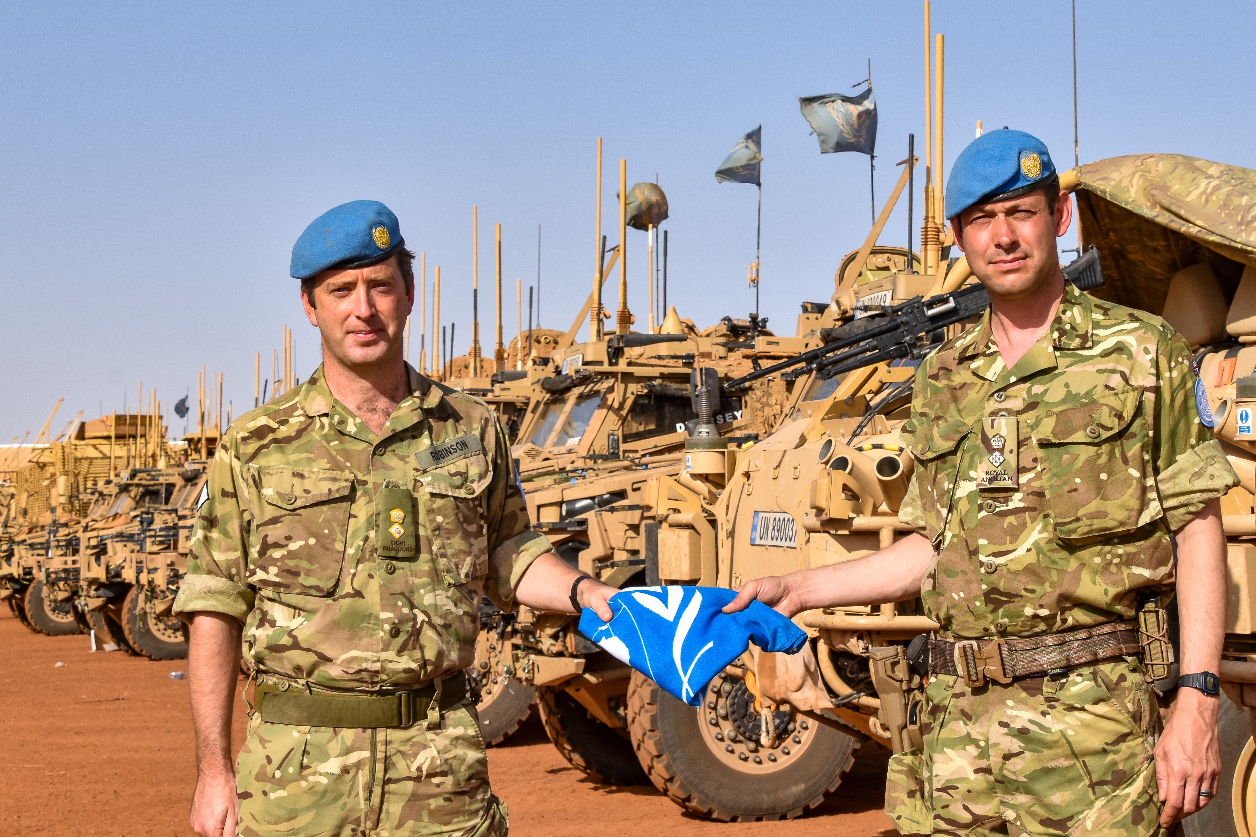 The official handover of Op NEWCOMBE LRRG(M) between the Light Dragoons and the Royal Anglian Regiment.