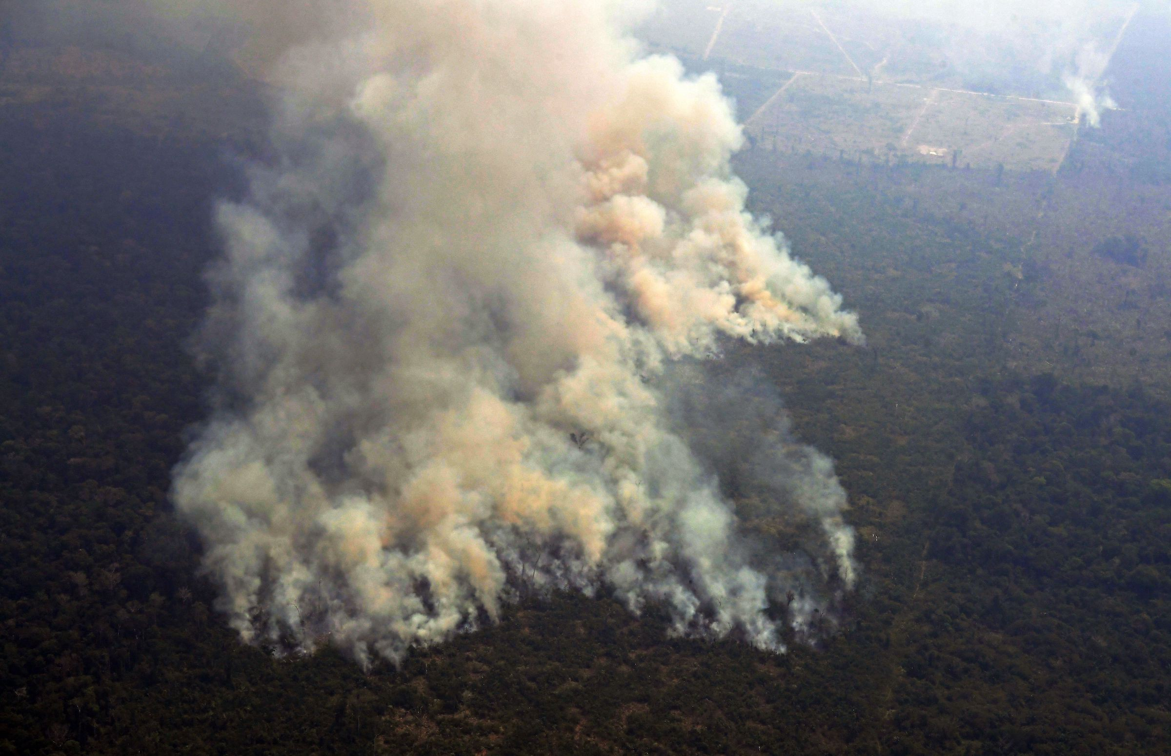A two-kilometre-long stretch of fire billowing from the Amazon rainforest in northern Brazil on August 23.