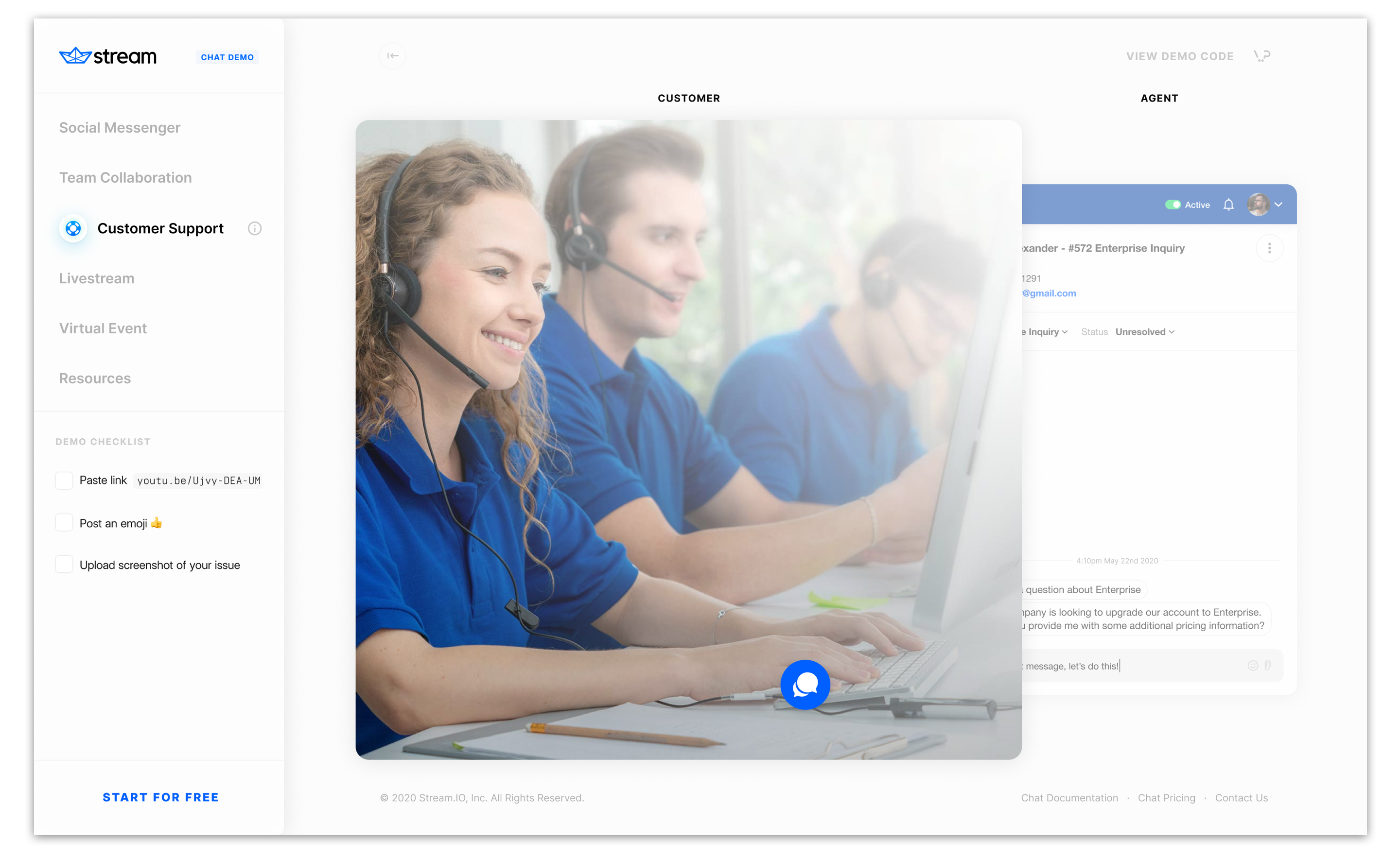 A customer support live chat portal.