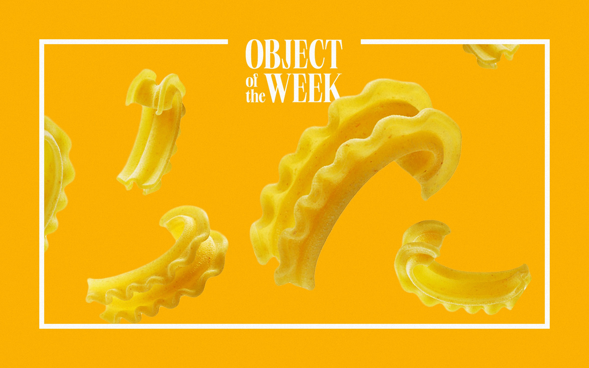 """Enlarged view of a new type of pasta called """"cascatelli."""" The pasta has a U-shape with a ribbed outer edge."""