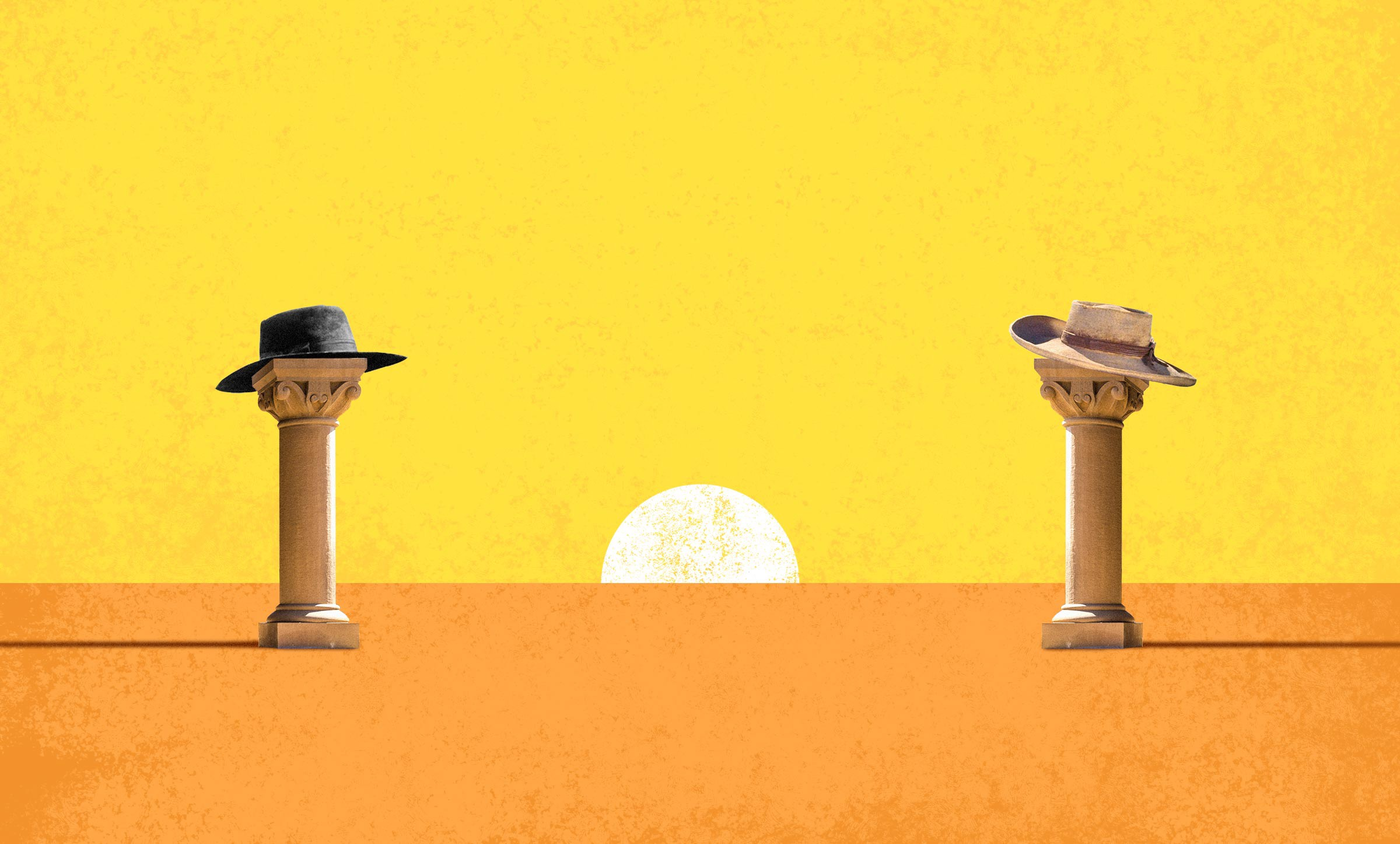 Graphic of a Wild West sunset showdown between two columns, reminiscent of higher-education, in cowboy hats.