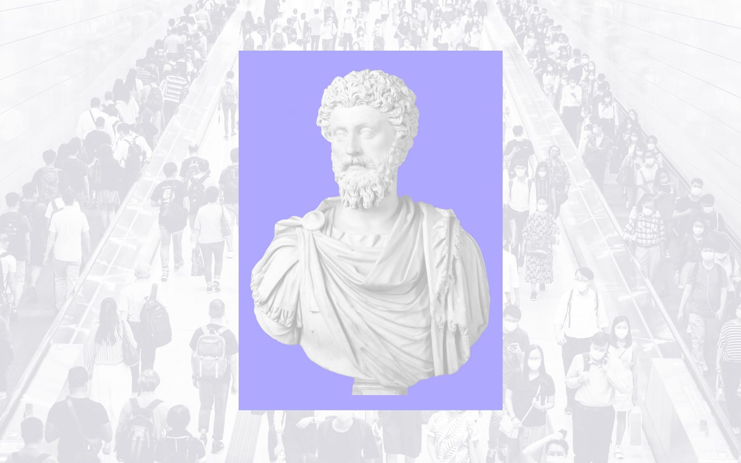 Bust of Roman Emperor and Stoic philosopher Marcus Aurelius against a background of a crowd of people going up stairs.