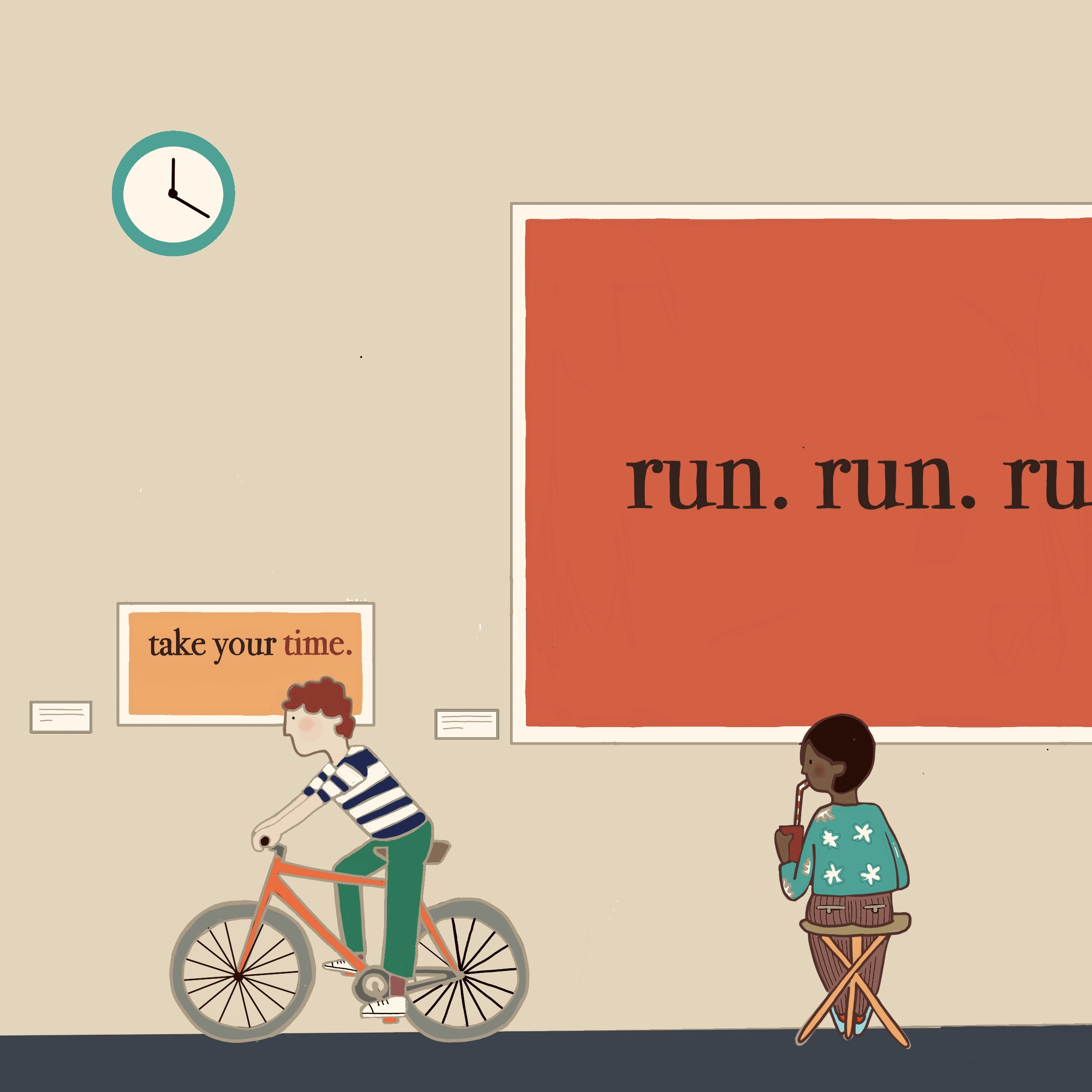 Two people in a museum: one running on a bike in front a small painting and a person sitting in front of a huge one.