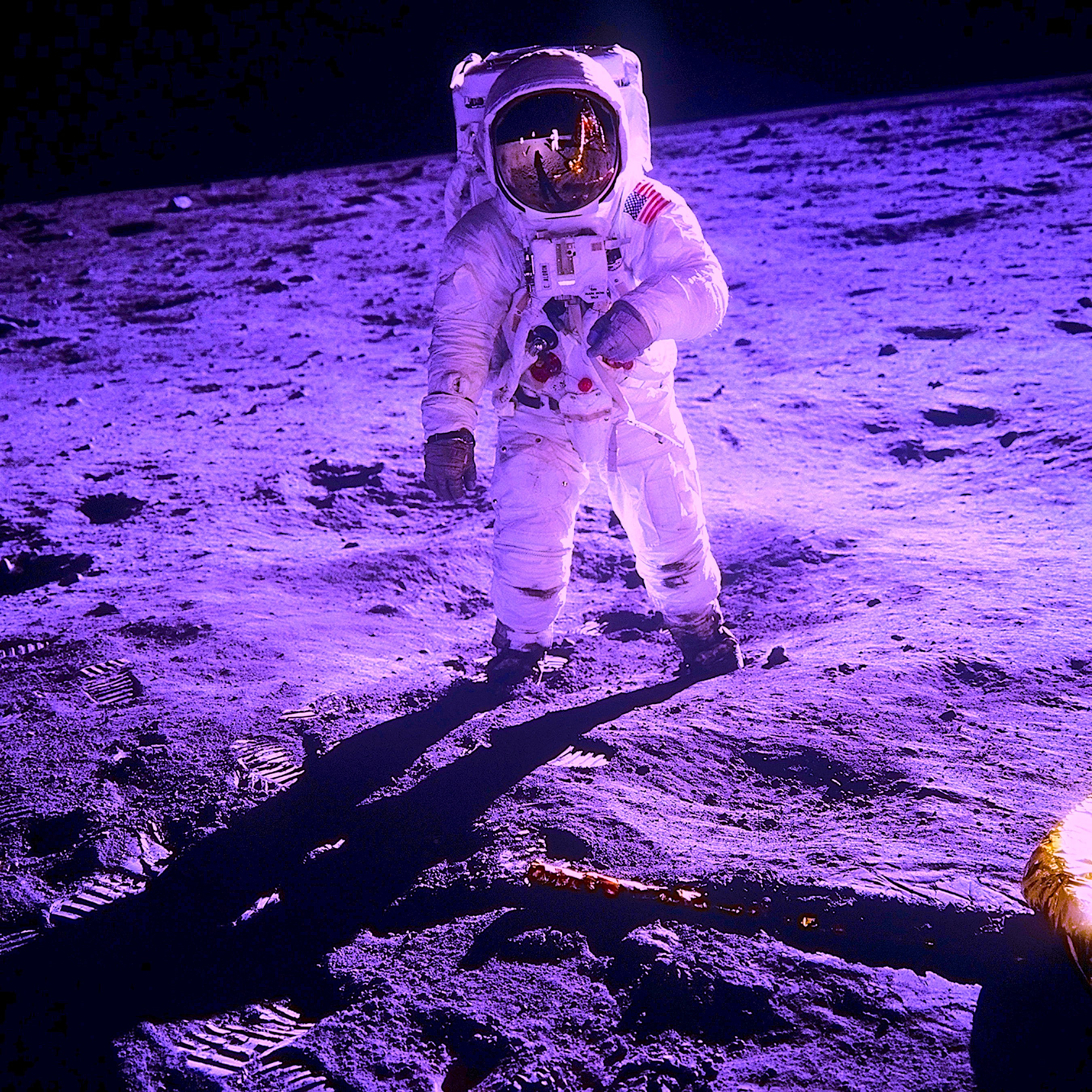Apollo 11 astronaut Buzz Aldrin walking on the surface of the moon. Photo taken on 20 July 1969.