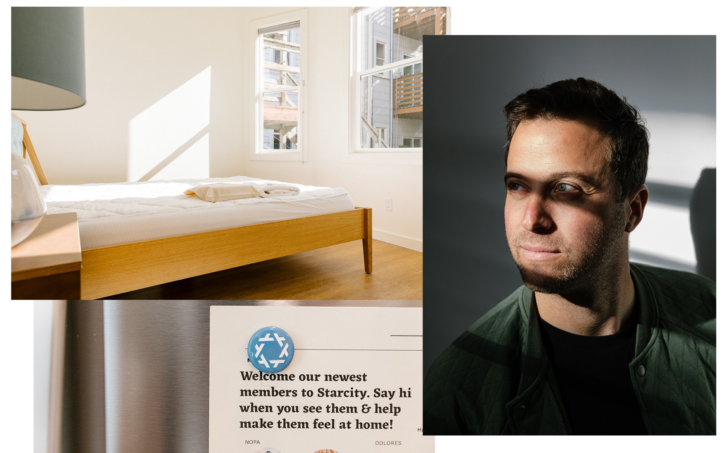A photo collage of an empty bedroom, a portrait of Starcity CEO Jon Dishotsky, and a refrigerator with a welcome card.