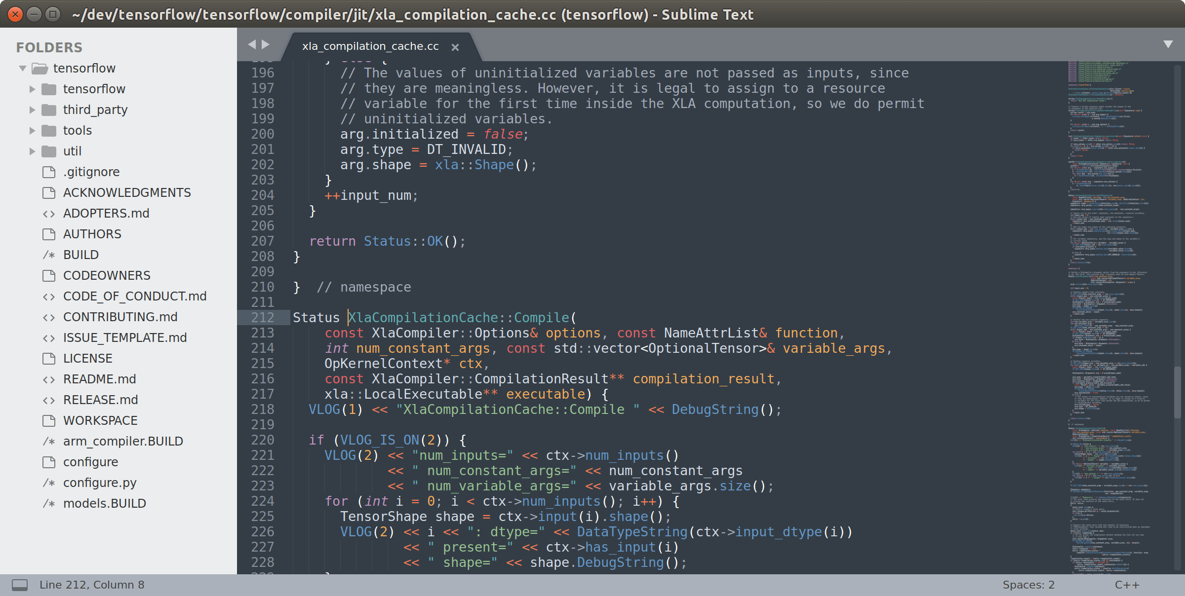 Screenshot of code in Sublime Text